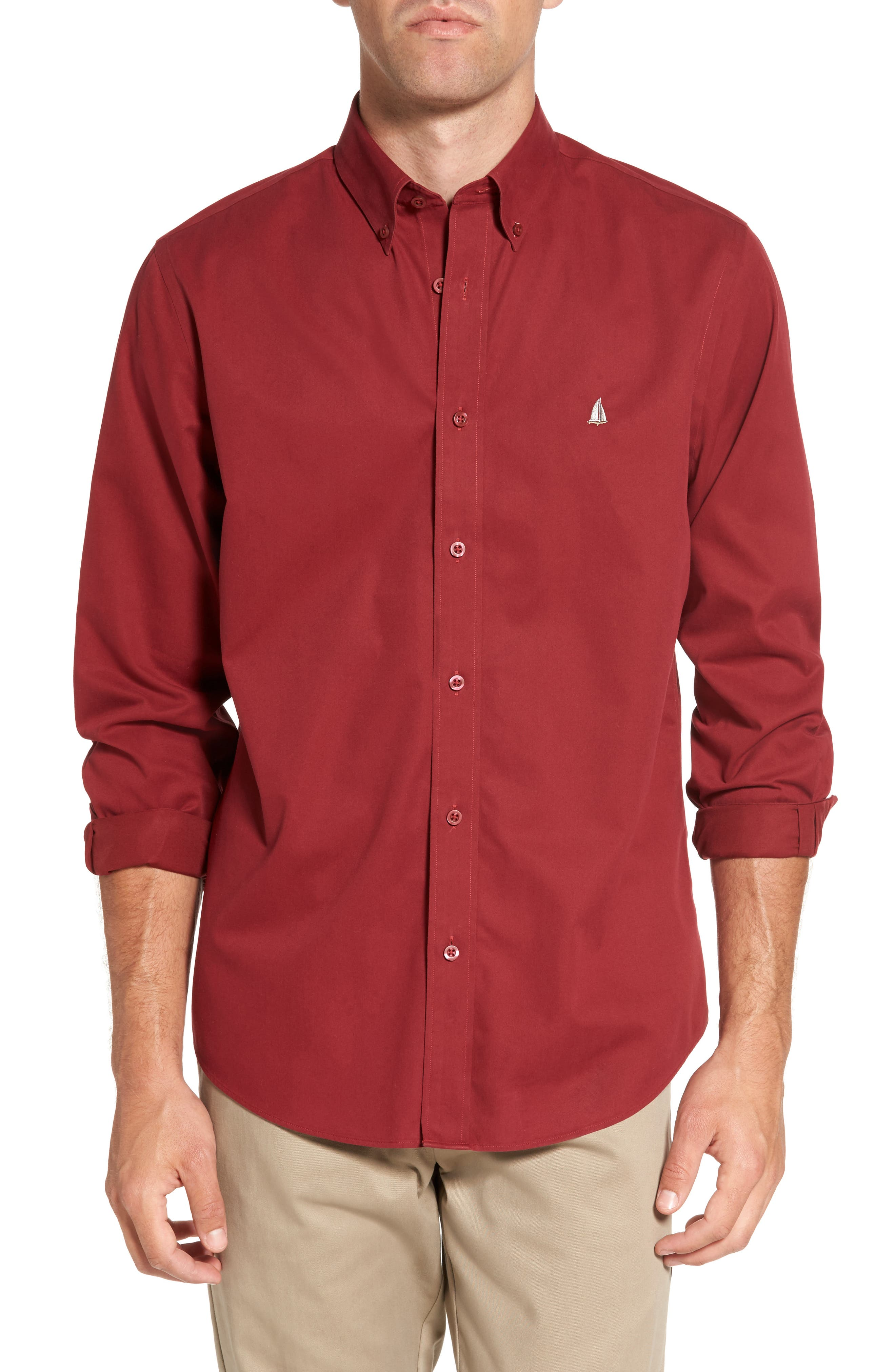 Smartcare<sup>™</sup> Traditional Fit Twill Boat Shirt,                         Main,                         color, Red Rugby
