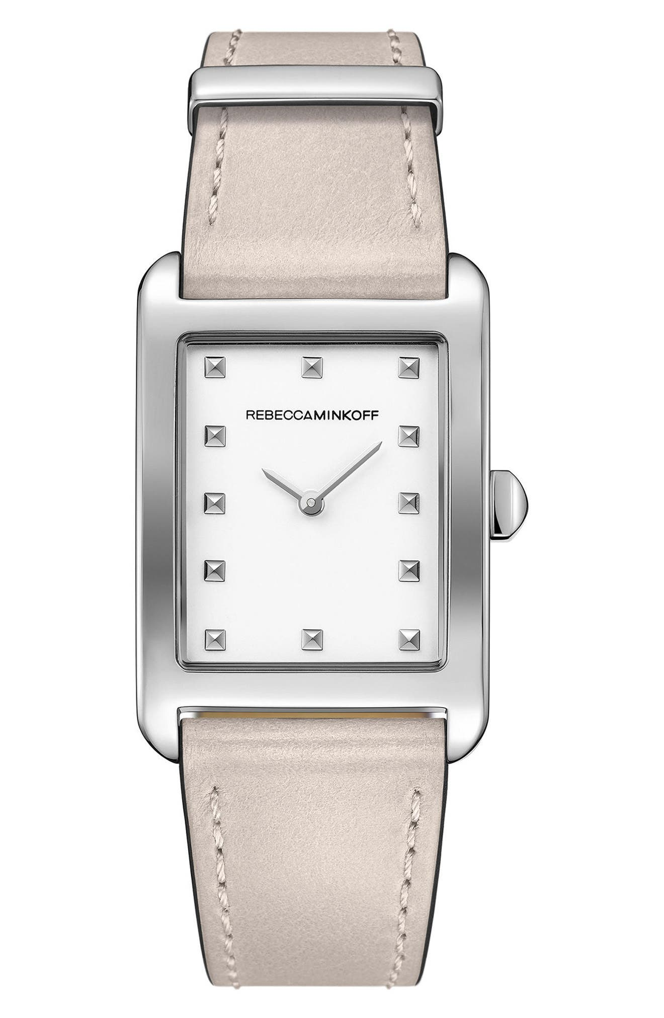 Moment Leather Strap Watch, 27mm x 39mm,                         Main,                         color, Putty/ White/ Silver