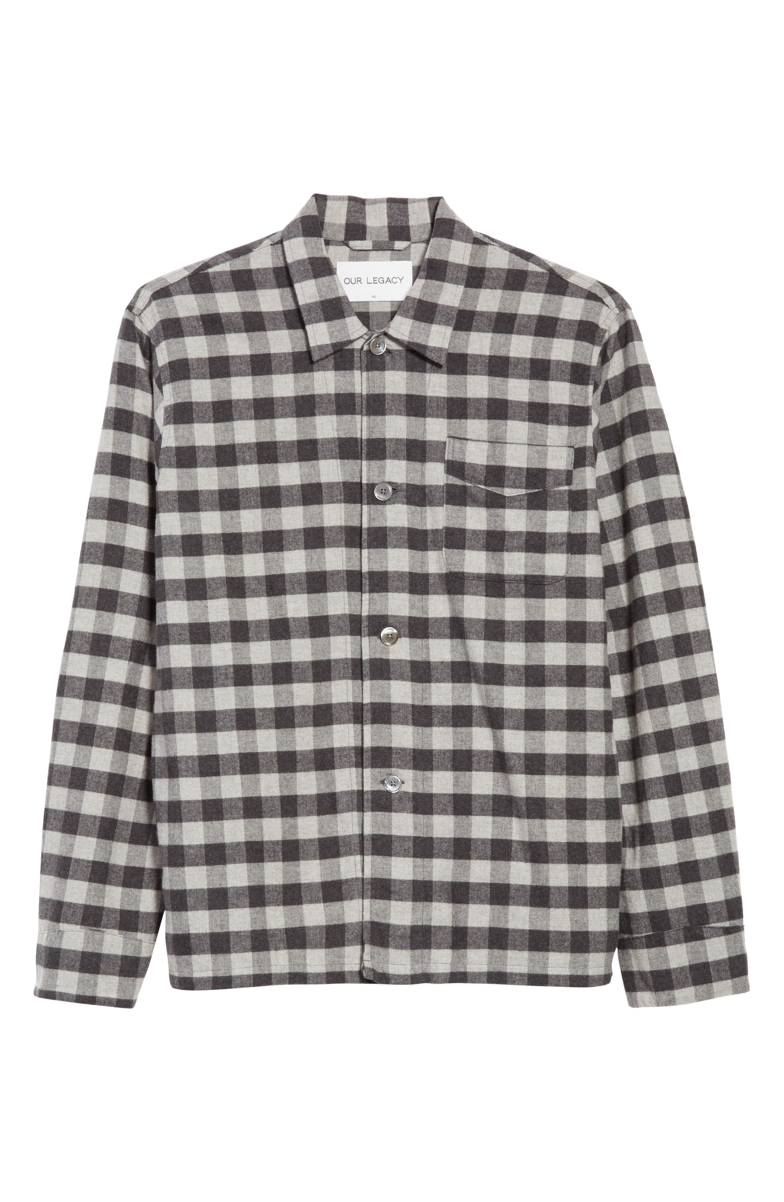 Buffalo Check Flannel Sport Shirt,                             Alternate thumbnail 6, color,                             Black