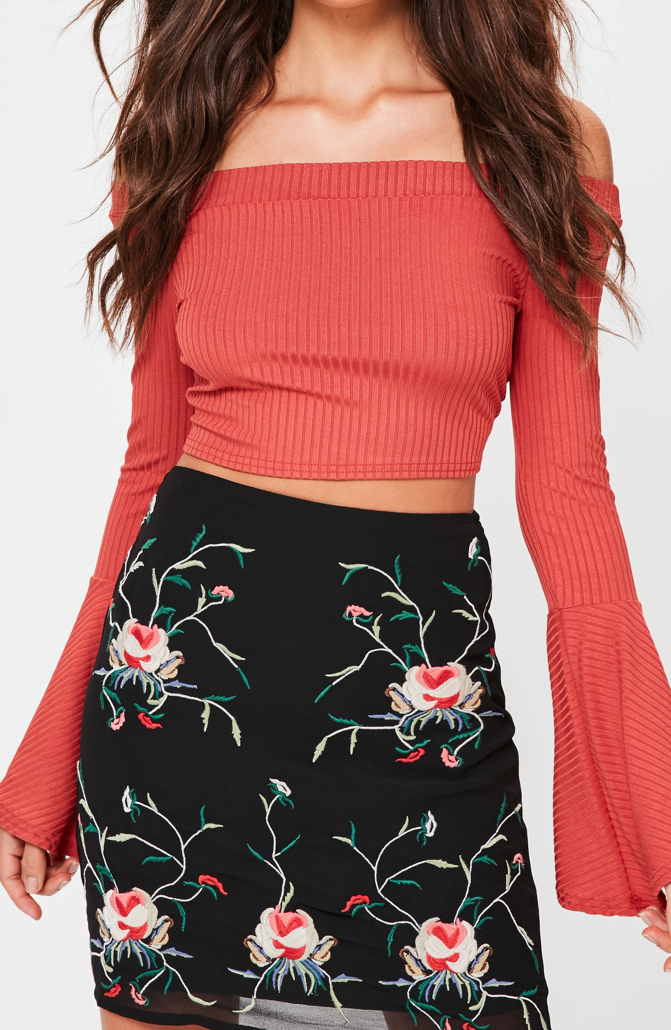 Alternate Image 3  - Missguided Floral Embroidered Pencil Skirt