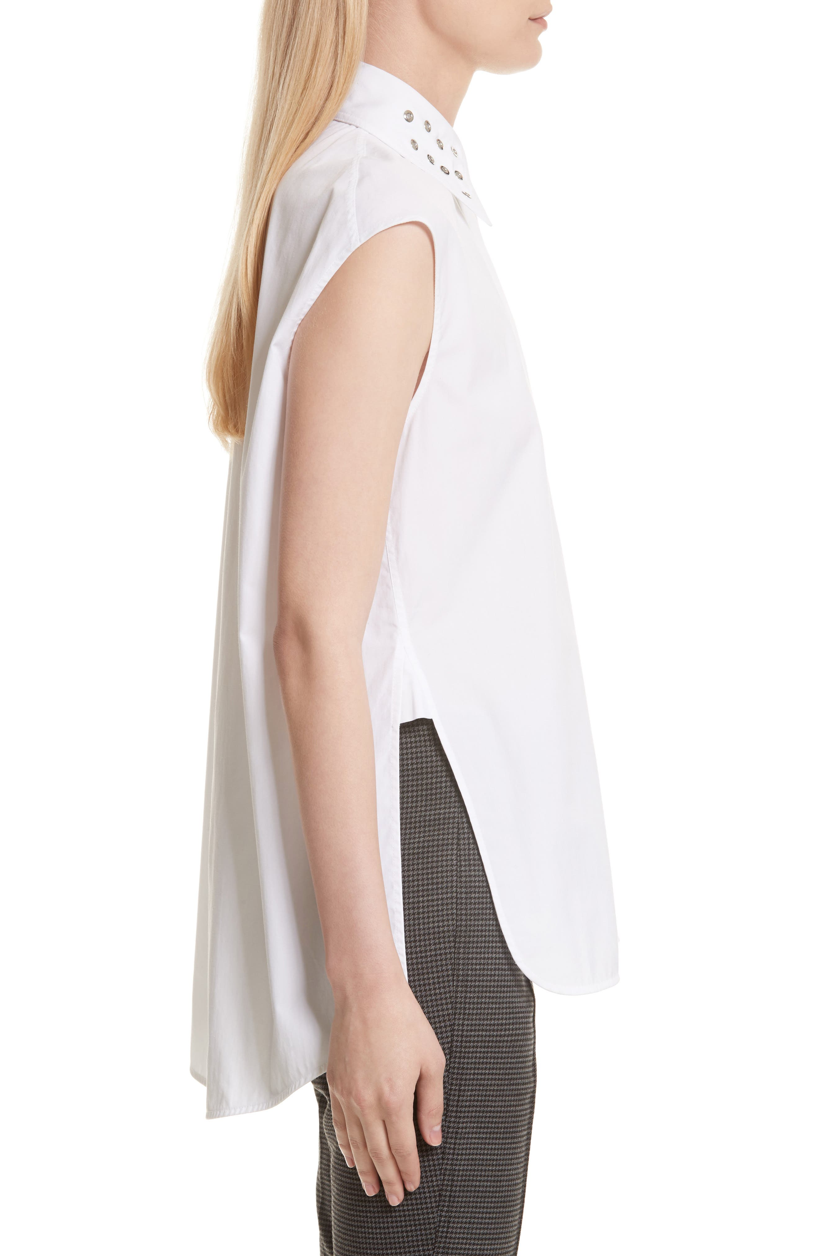 Eyelet Cotton Poplin Shirt,                             Alternate thumbnail 4, color,                             Bright White