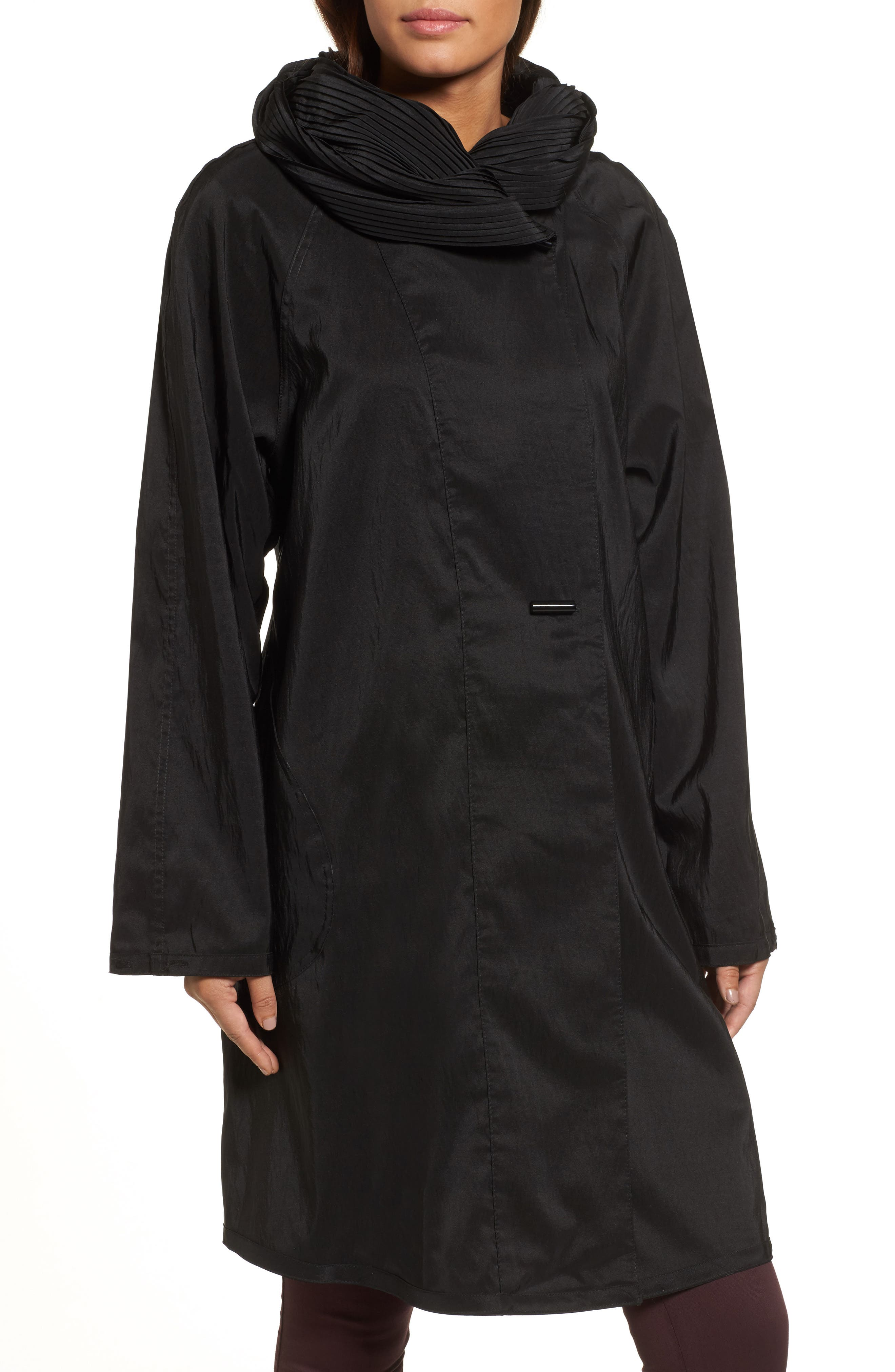 'Donatella' Reversible Dot Pleat Hood Packable Travel Coat,                             Alternate thumbnail 4, color,                             Black Dot