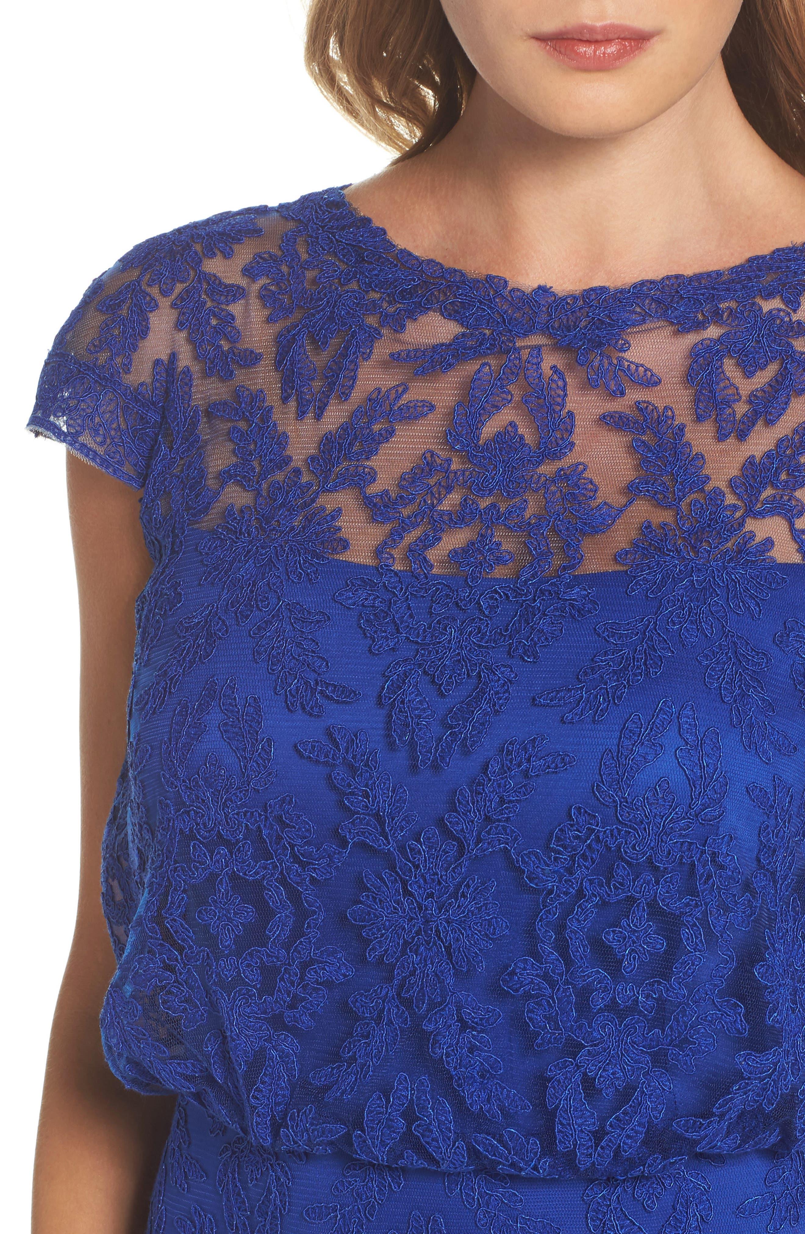 Alternate Image 4  - Tadashi Shoji Corded Lace Blouson Gown (Regular & Petite)