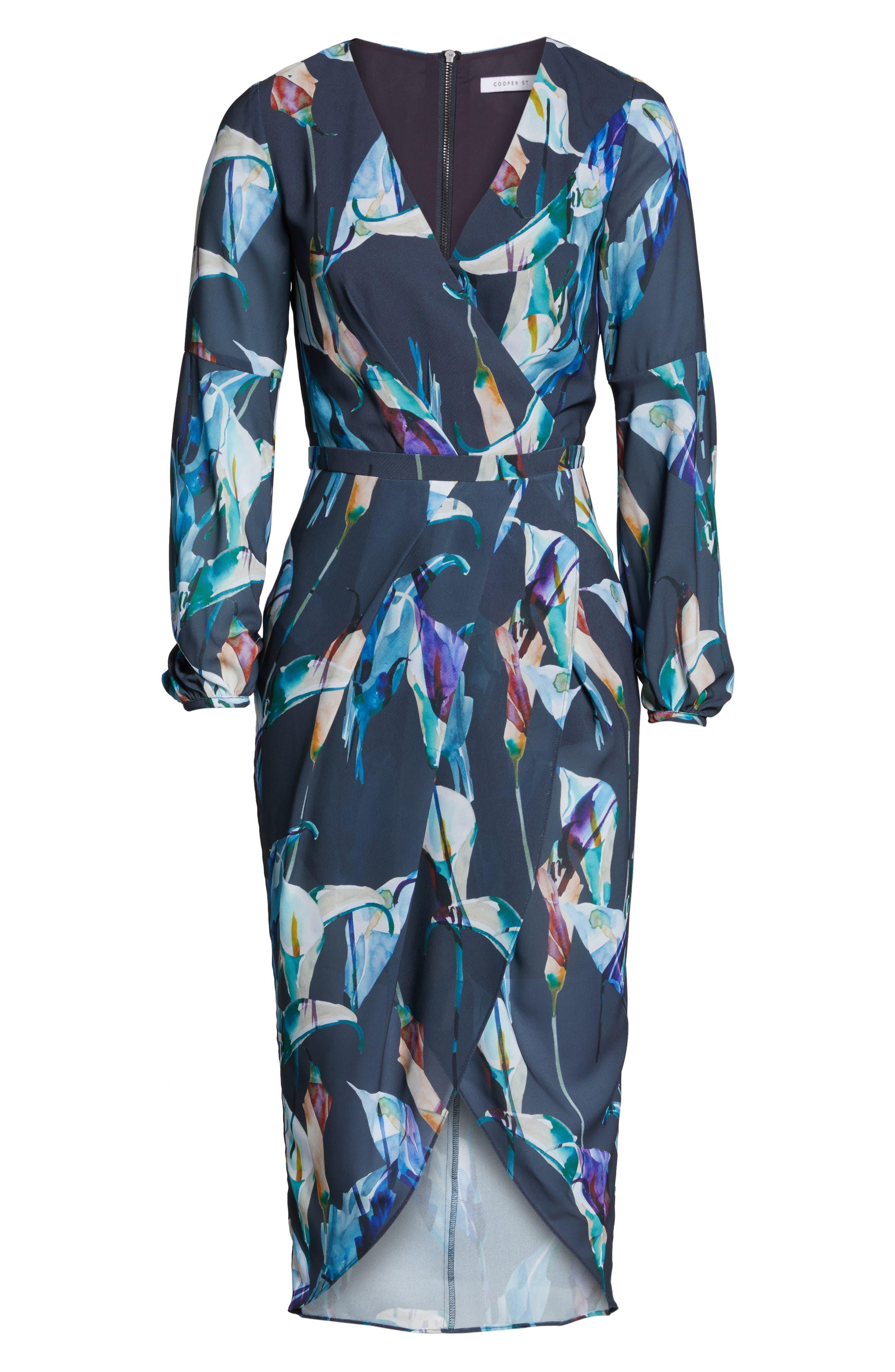 Romanticise Midi Dress,                             Alternate thumbnail 6, color,                             Black/ Aqua