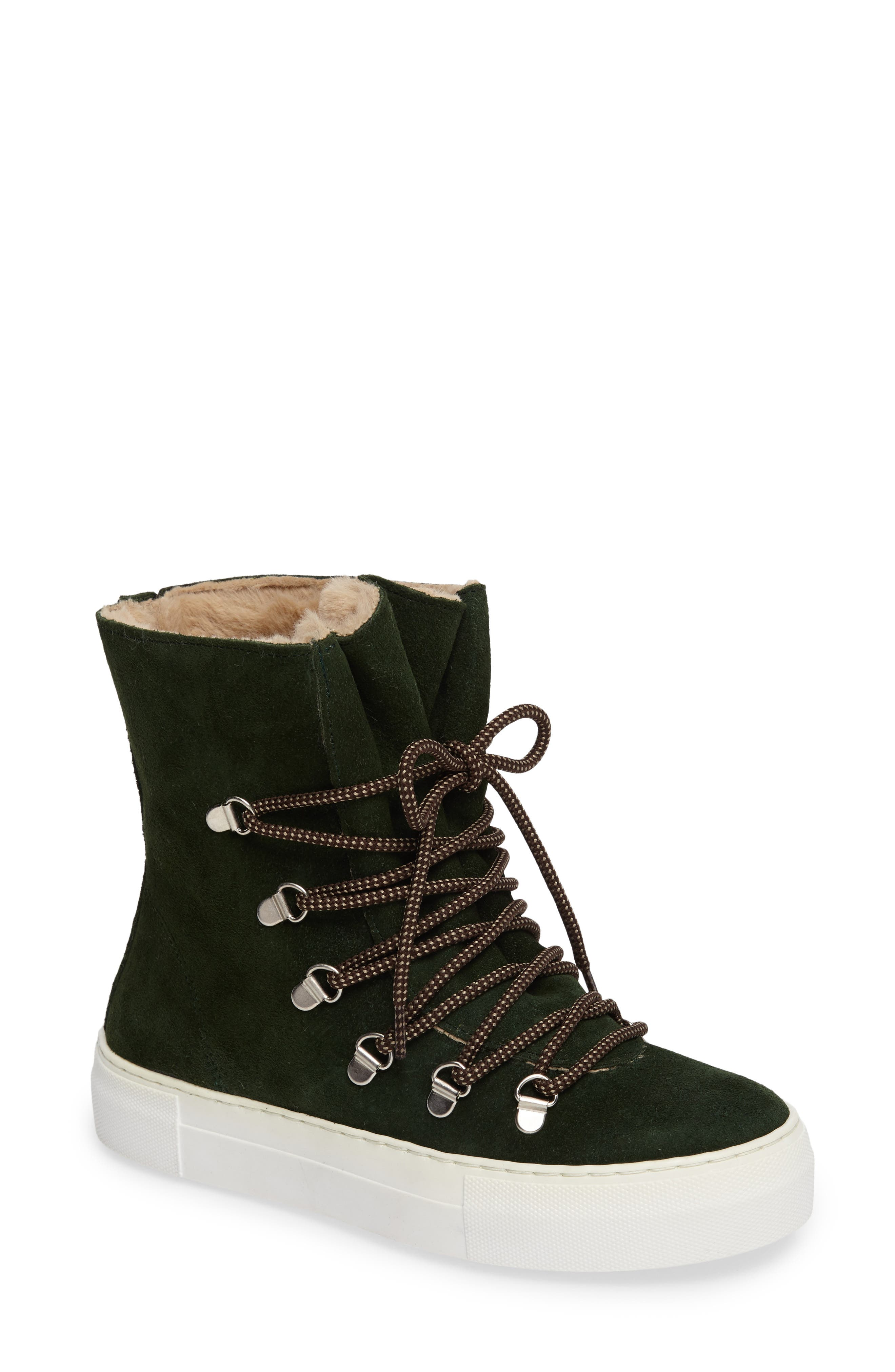 Cimone High Top Sneaker,                             Main thumbnail 1, color,                             Green Suede