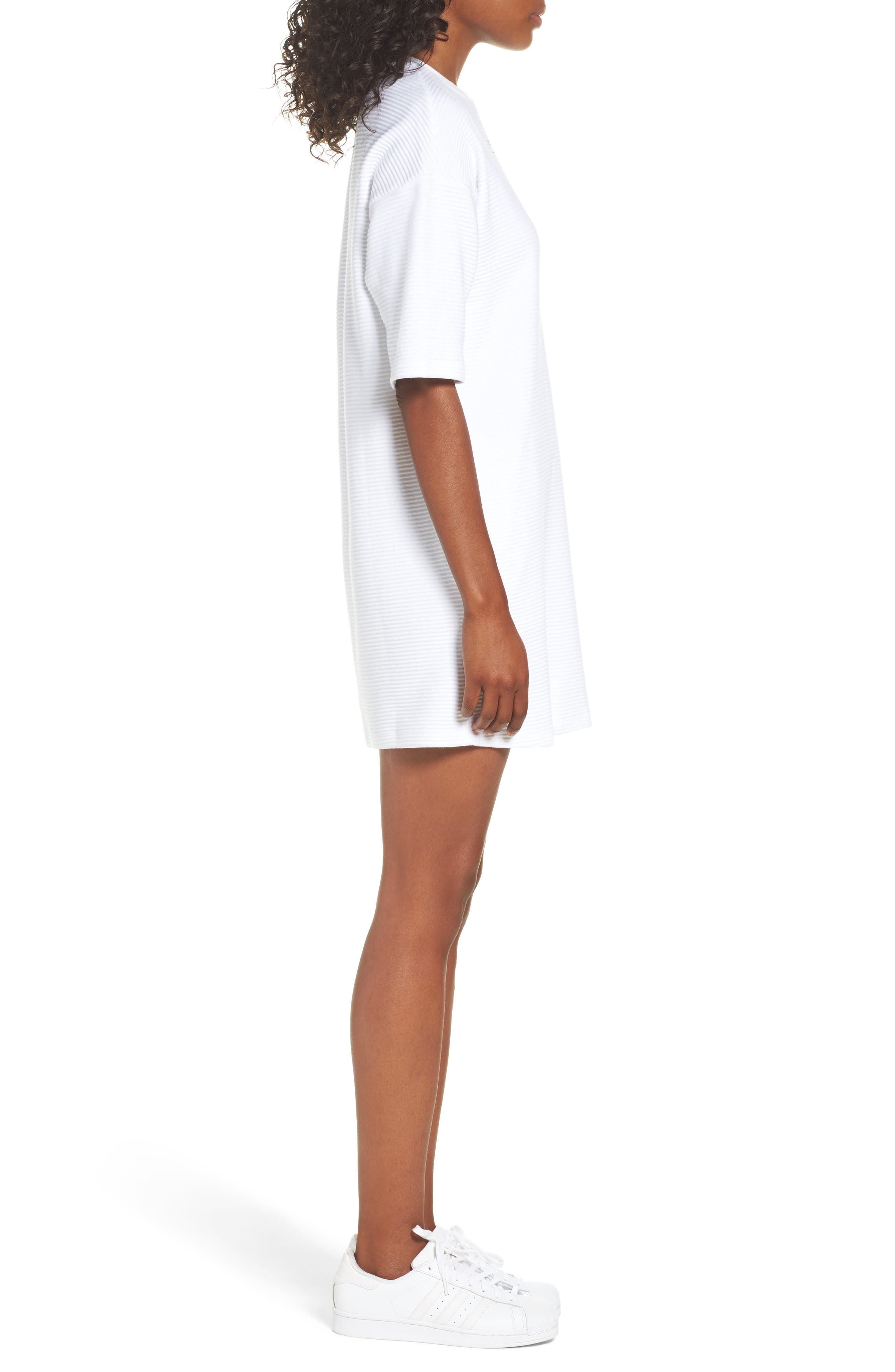 Originals EQT T-Shirt Dress,                             Alternate thumbnail 3, color,                             White