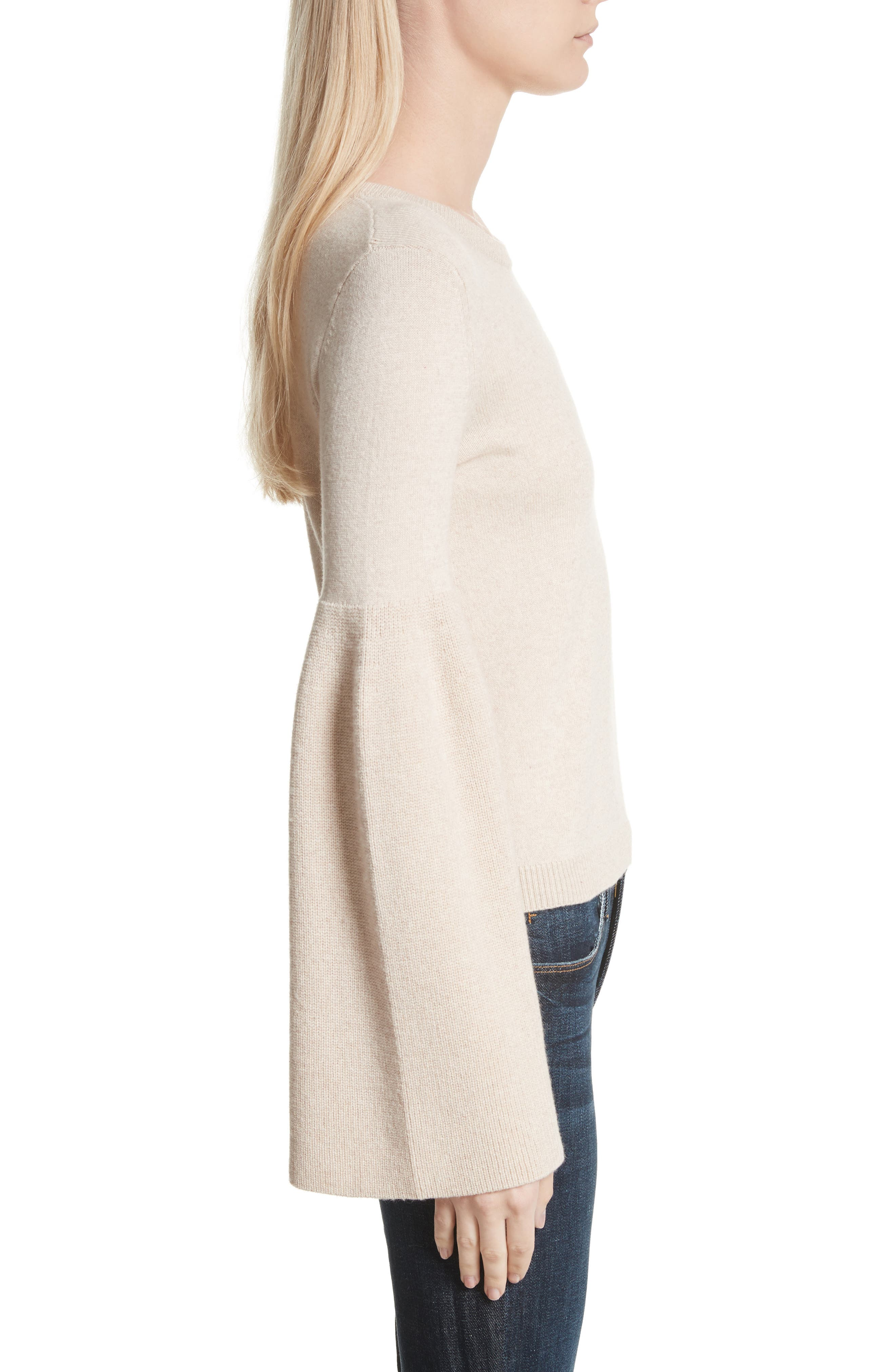 Parson Bell Sleeve Sweater,                             Alternate thumbnail 3, color,                             Nude