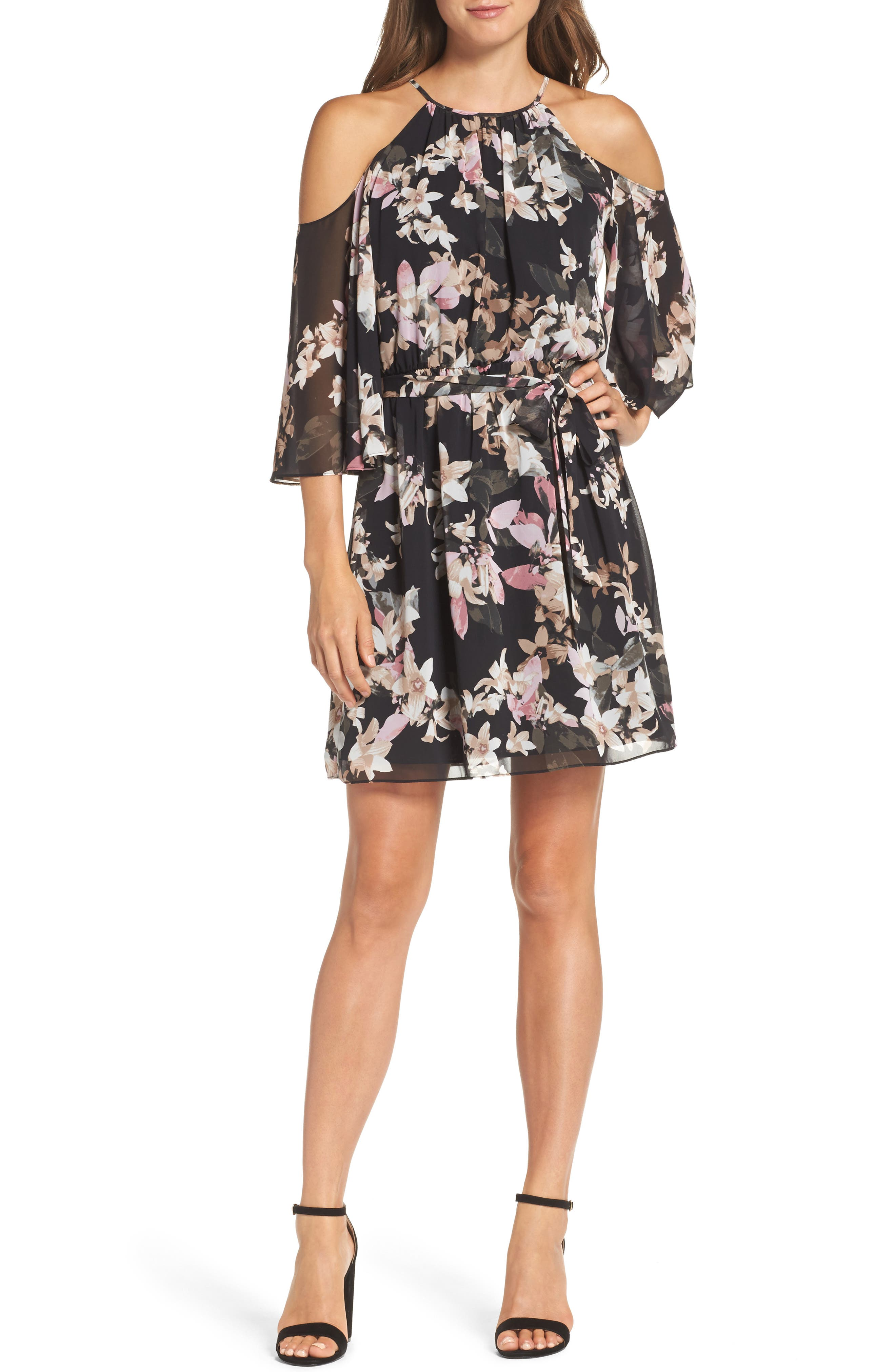 Print Chiffon Cold Shoulder Dress,                         Main,                         color, Pink Multi