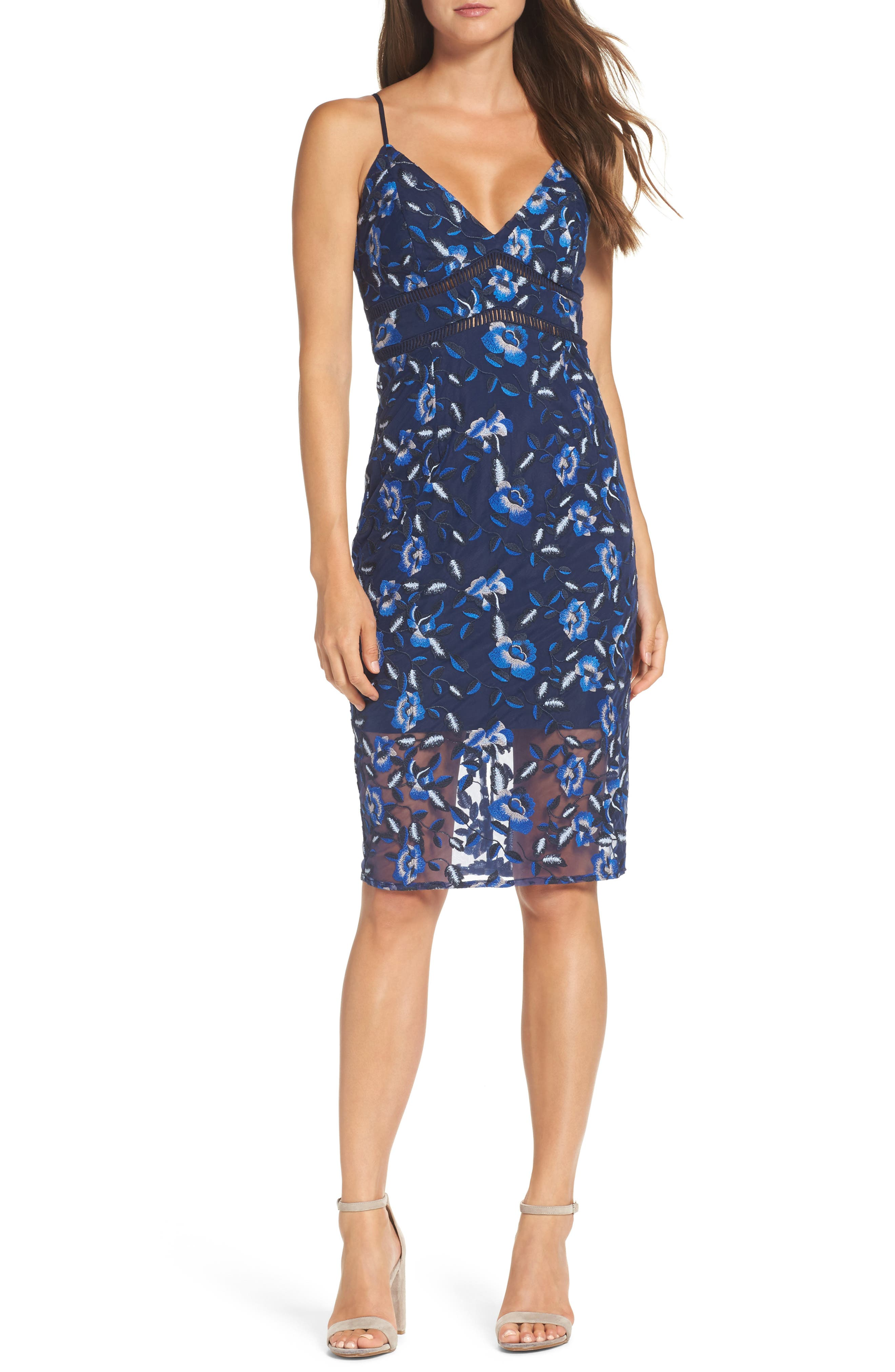 Sapphire Lace Pencil Dress,                             Main thumbnail 1, color,                             Floral