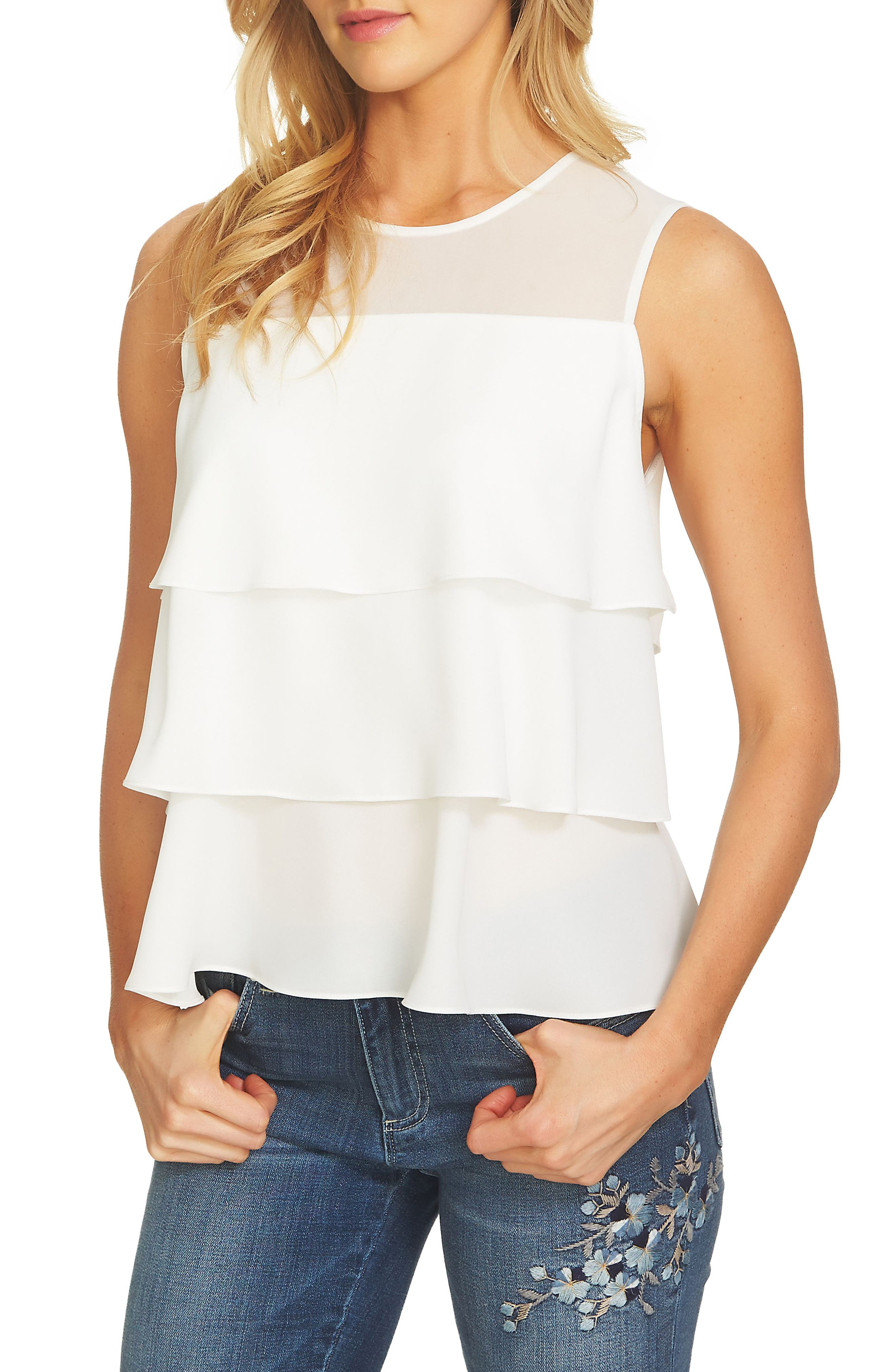 CeCe Tiered Ruffle Crepe Top