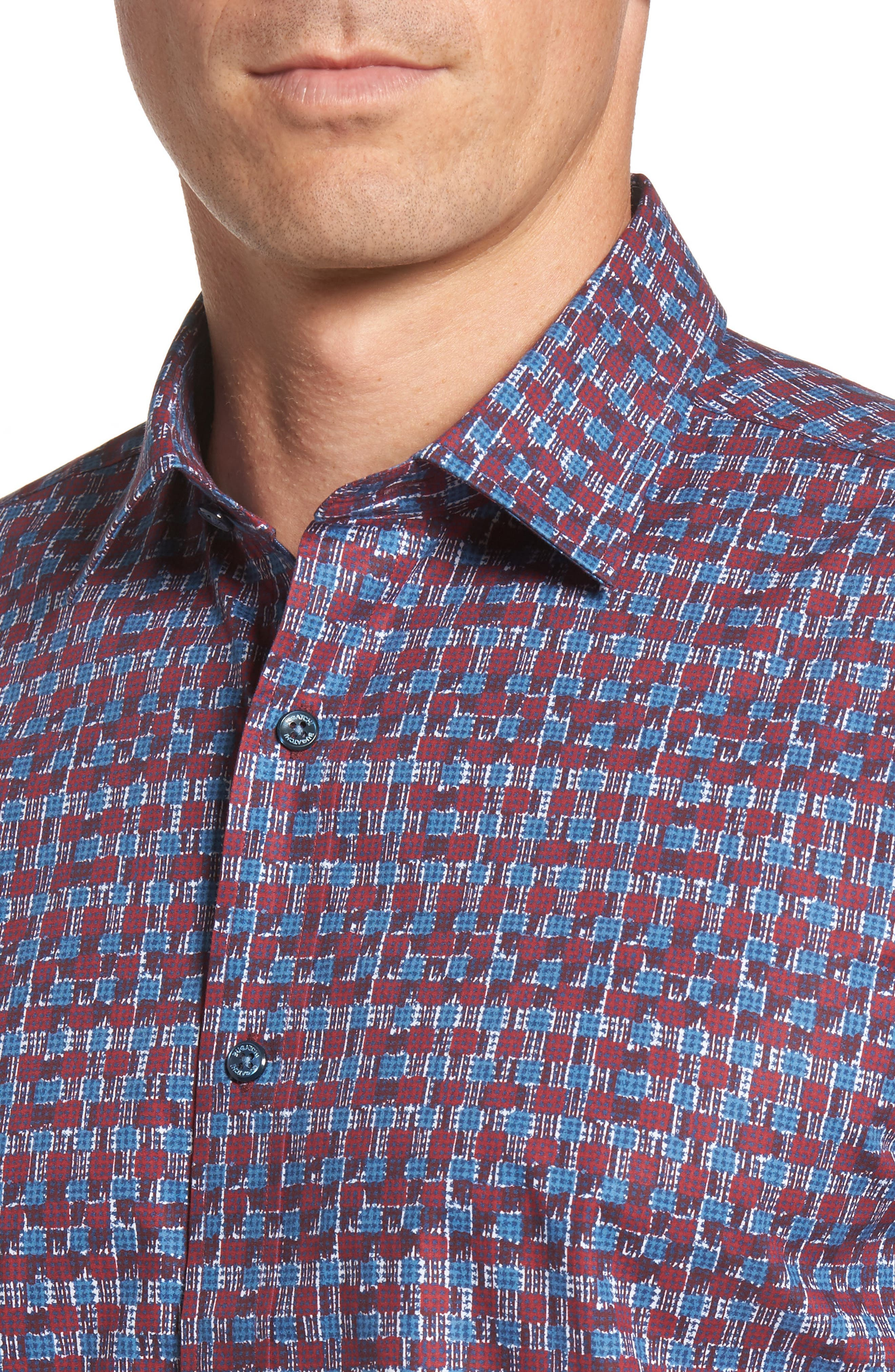 Shaped Fit Abstract Check Sport Shirt,                             Alternate thumbnail 4, color,                             Ruby