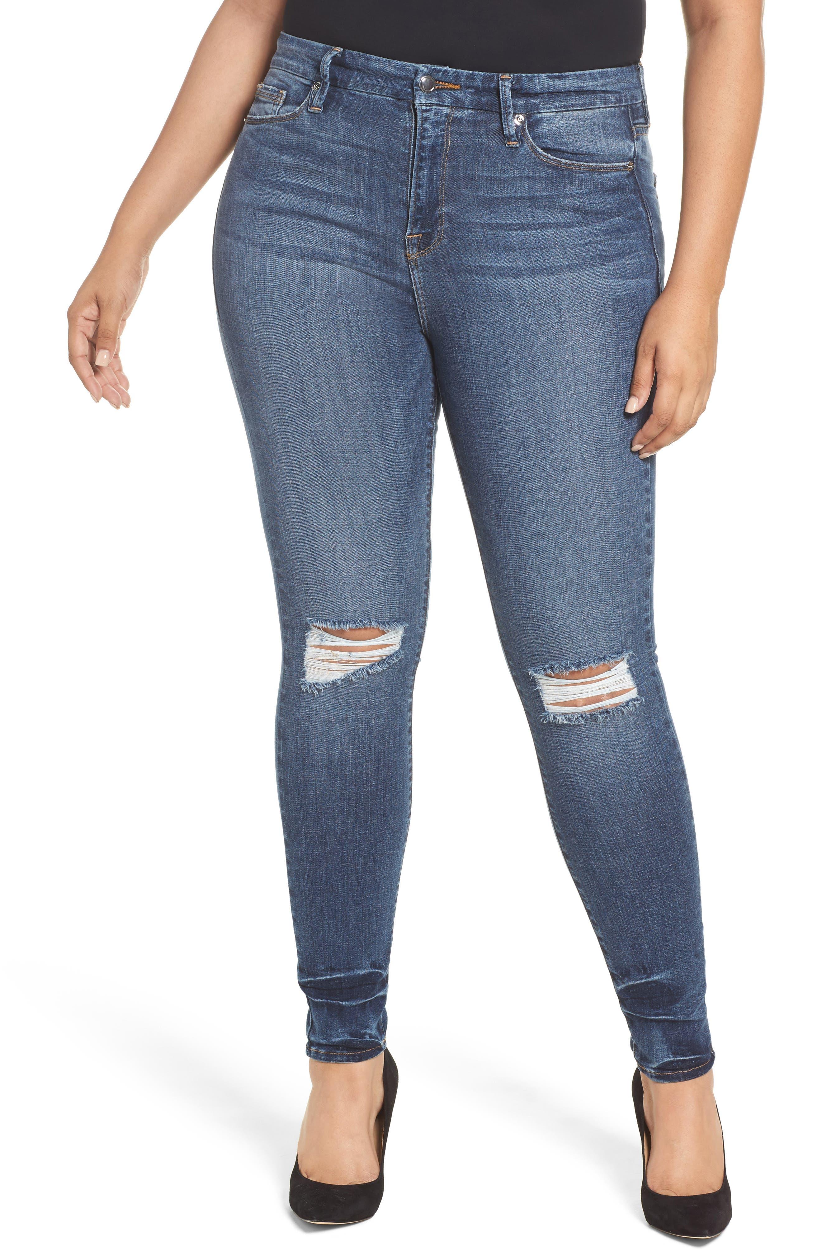 Alternate Image 7  - Good American Good Legs High Waist Ankle Skinny Jeans (Blue 084) (Regular & Plus Size)