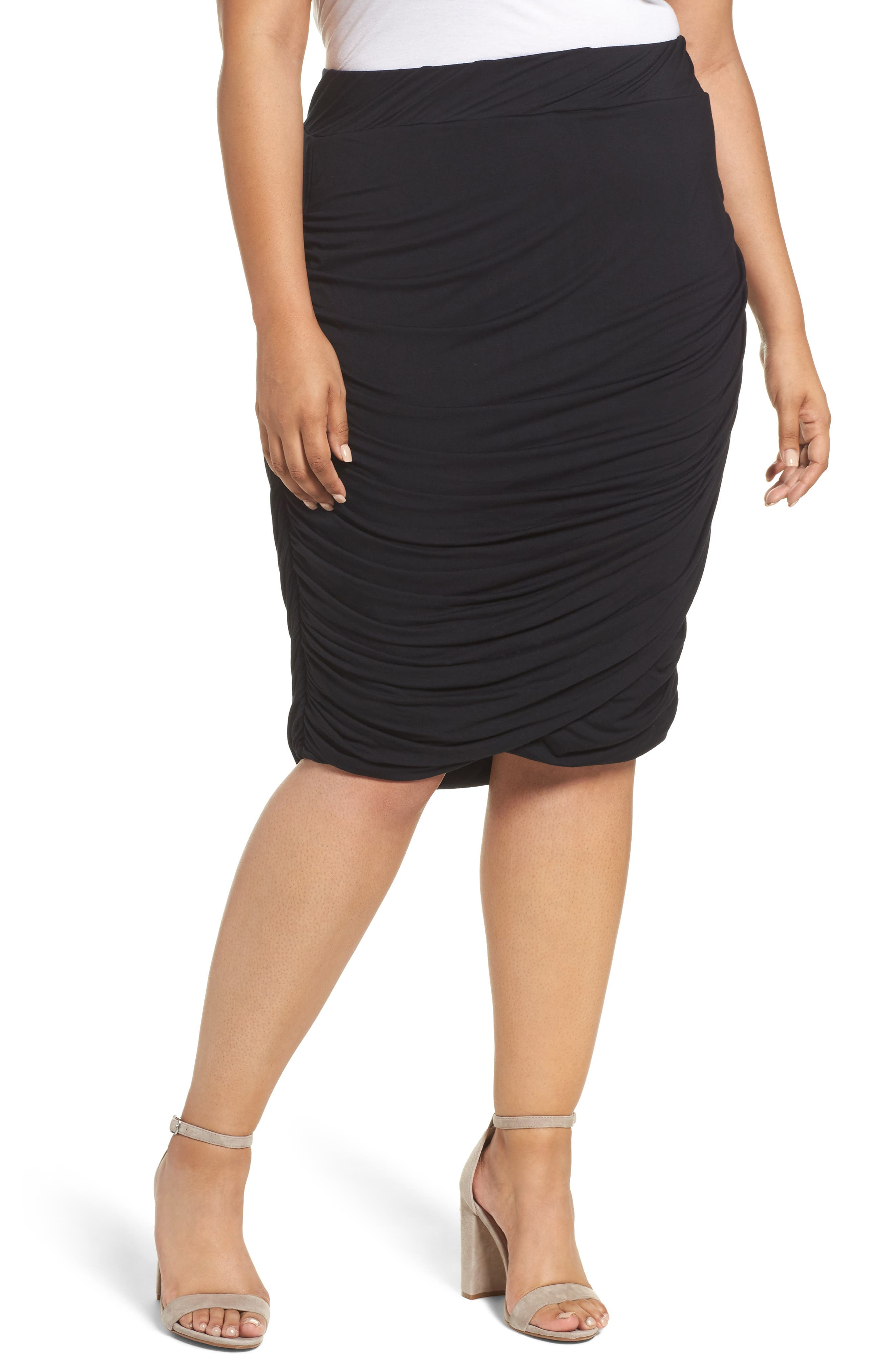 Alternate Image 1 Selected - REBEL WILSON X ANGELS Ruched Jersey Knit Skirt (Plus Size)