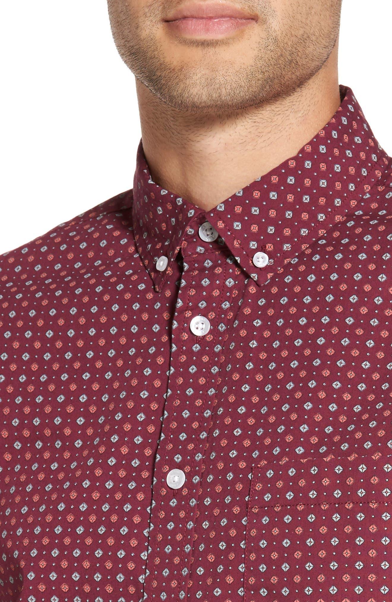Sterling Woven Shirt,                             Alternate thumbnail 4, color,                             Raspberry Multi
