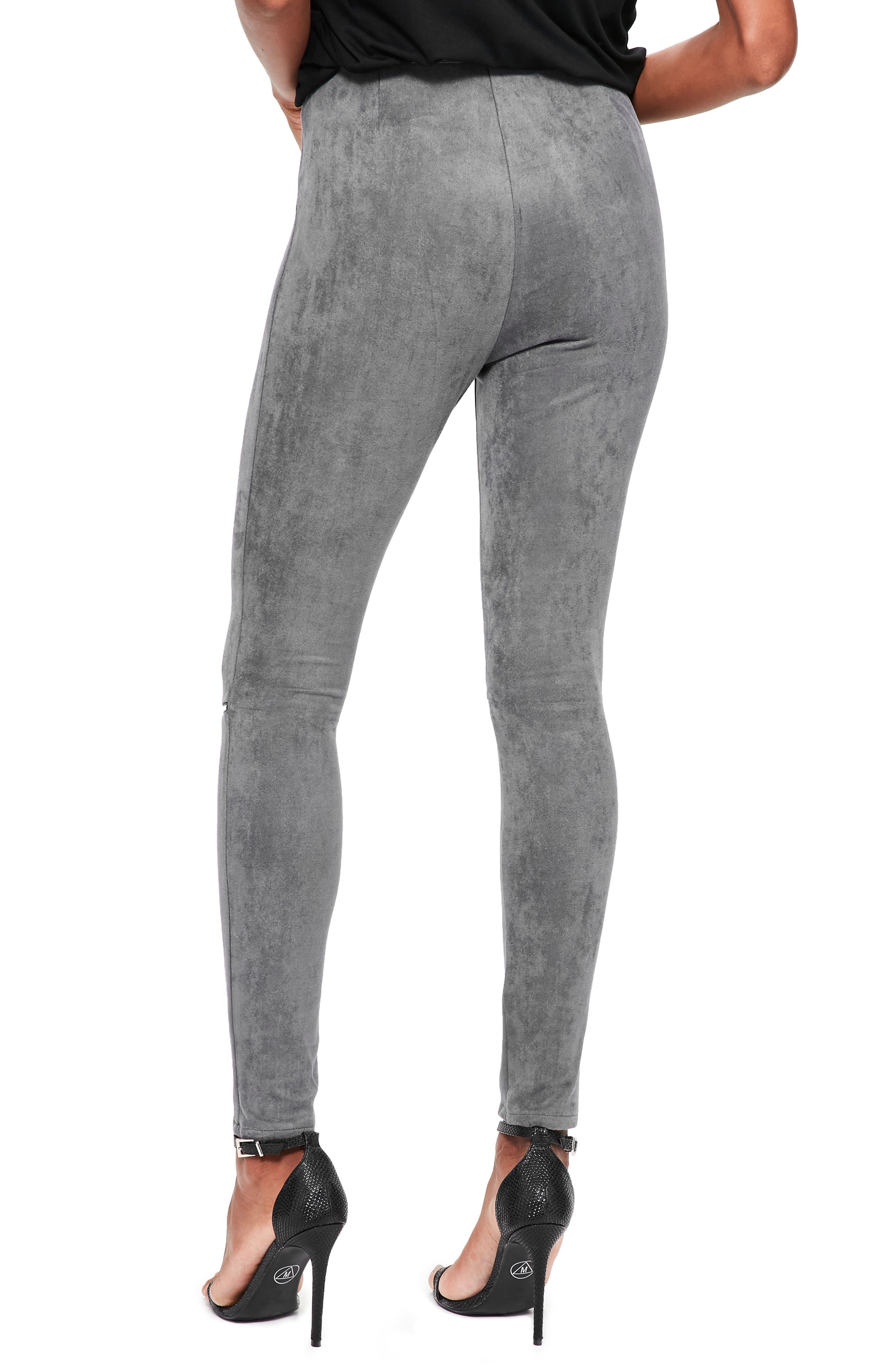Faux Suede Zip Leggings,                             Alternate thumbnail 2, color,                             Grey