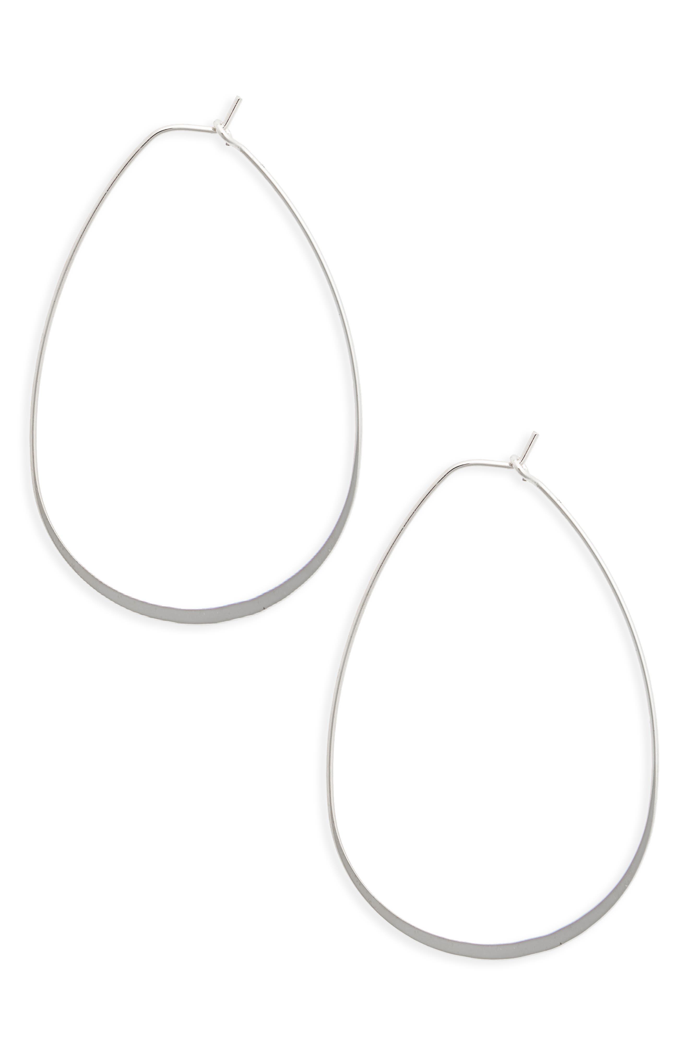 Flat Oval Hoop Earrings,                             Main thumbnail 1, color,                             Silver