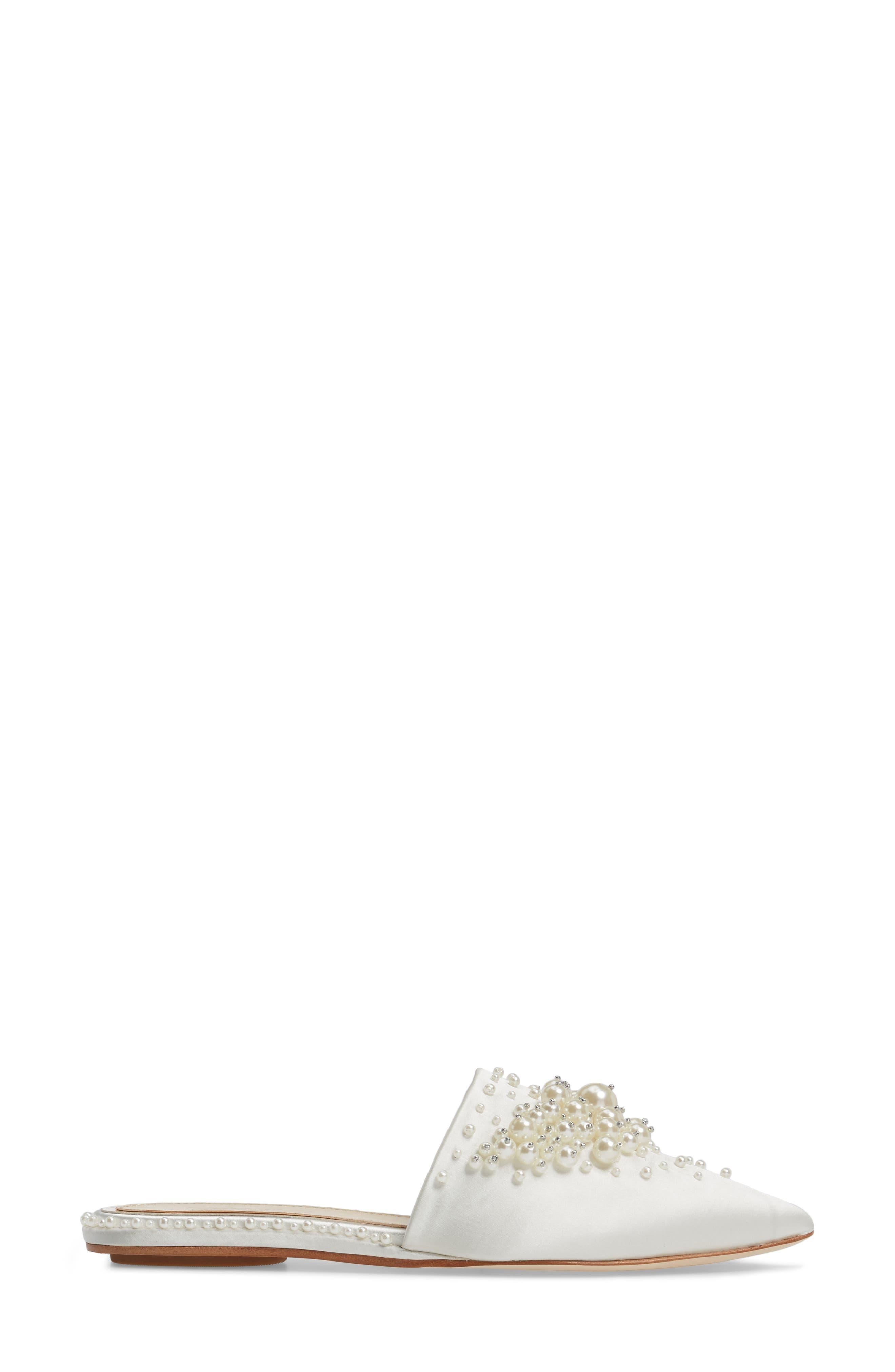 Casele Pointy Toe Mule,                             Alternate thumbnail 3, color,                             Ivory Satin