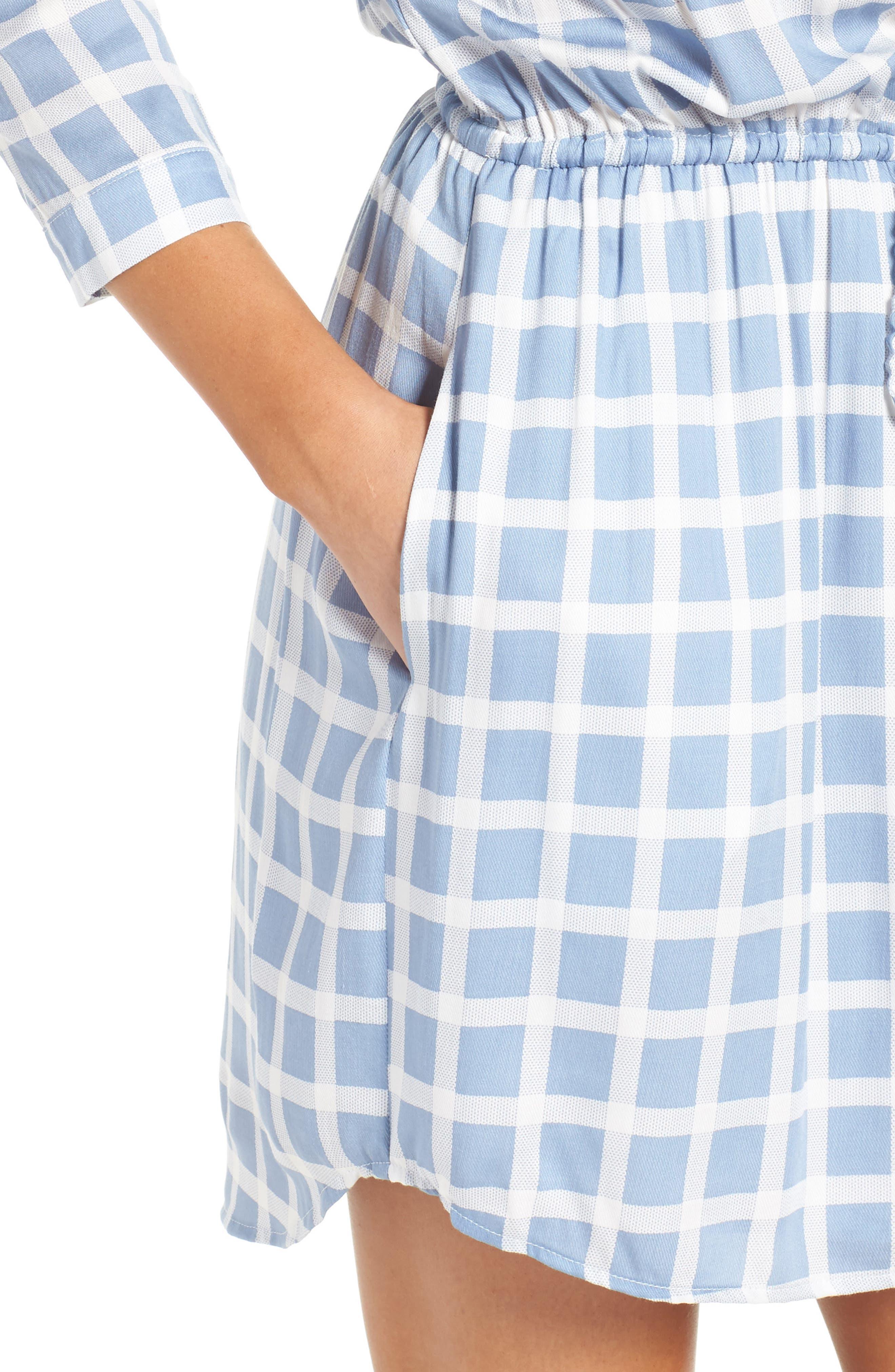 Daniella Plaid Shirtdress,                             Alternate thumbnail 4, color,                             Faded Denim