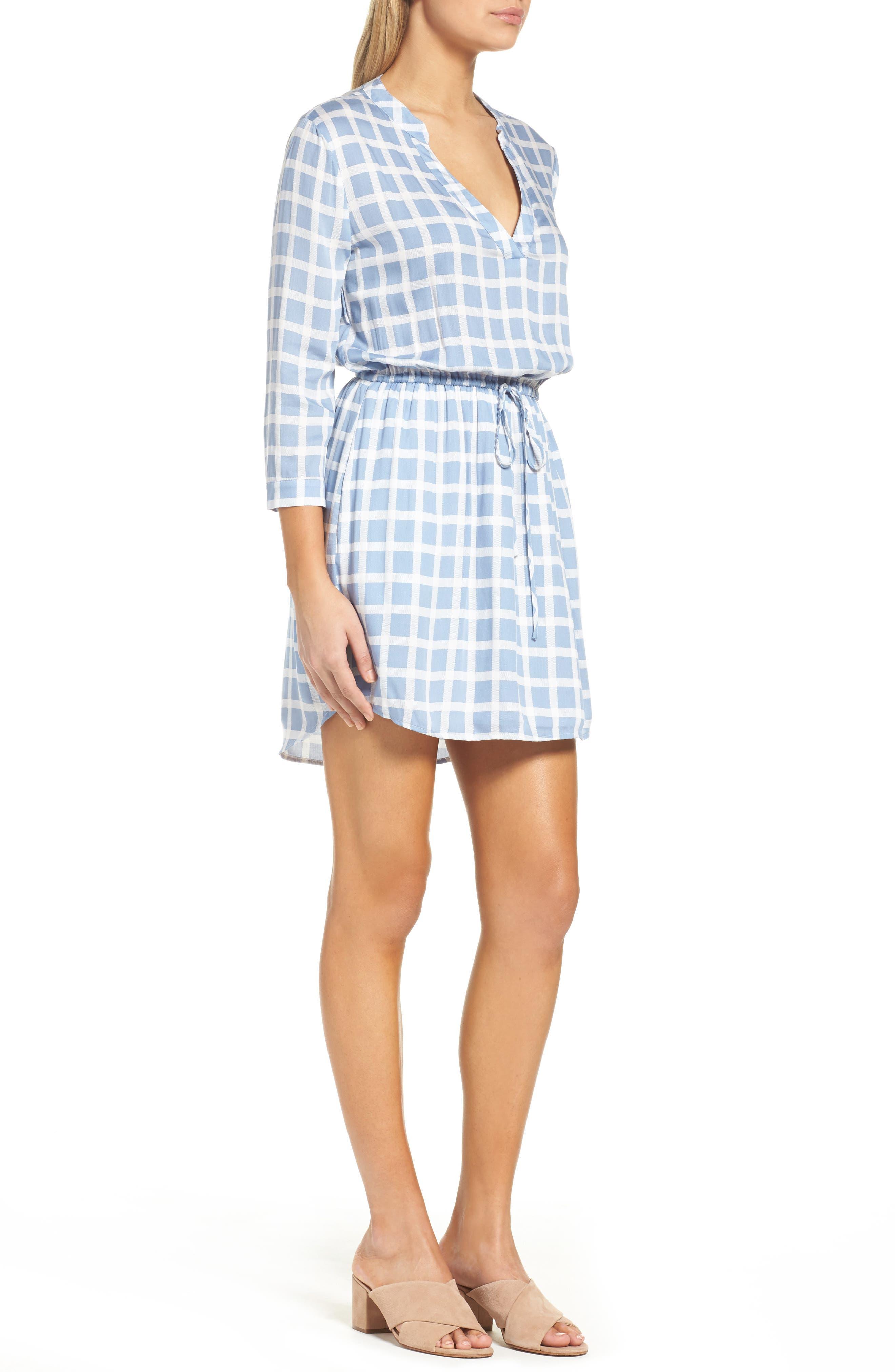 Daniella Plaid Shirtdress,                             Alternate thumbnail 3, color,                             Faded Denim