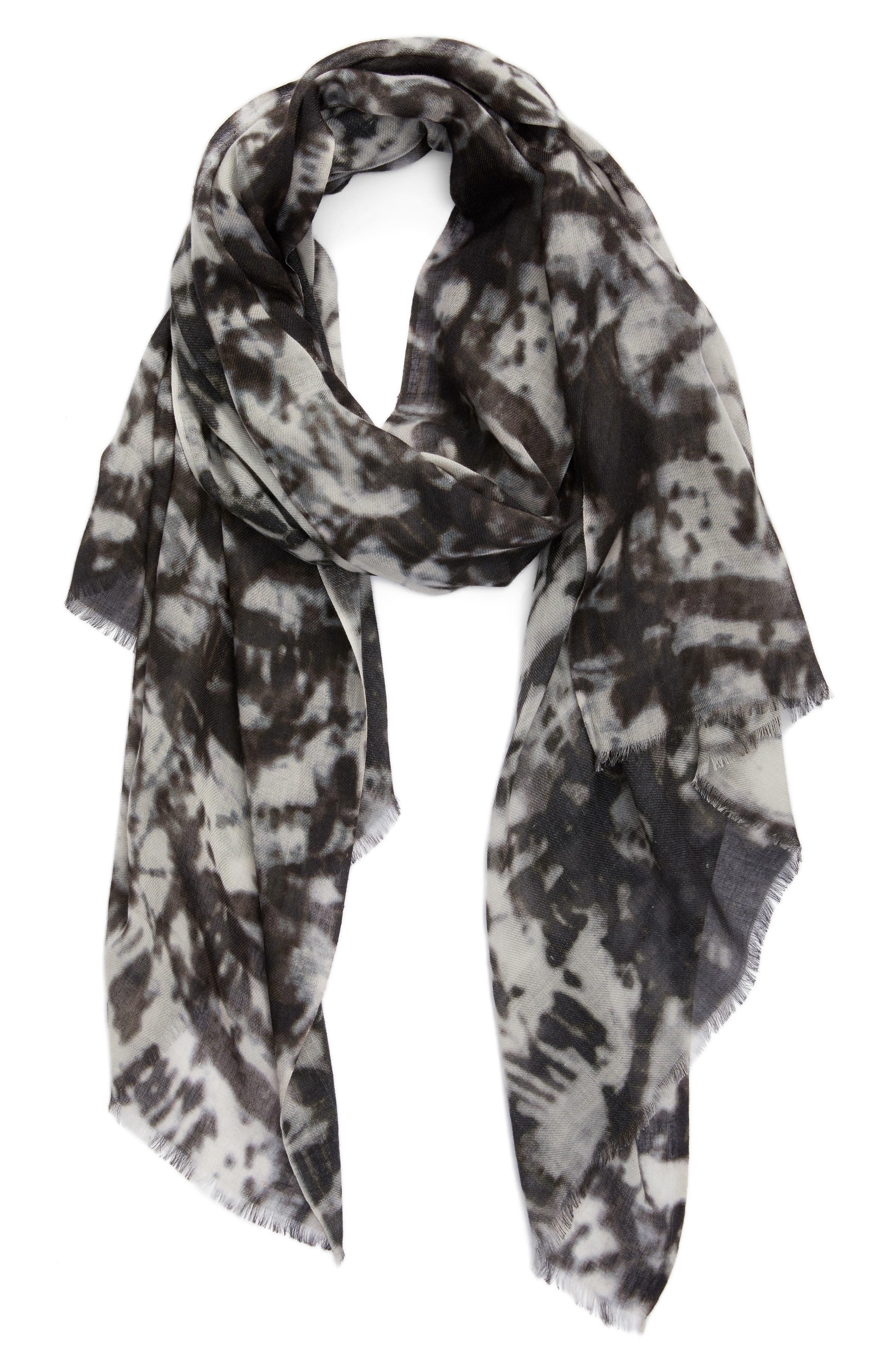 Print Silk & Wool Scarf,                             Alternate thumbnail 3, color,                             Black