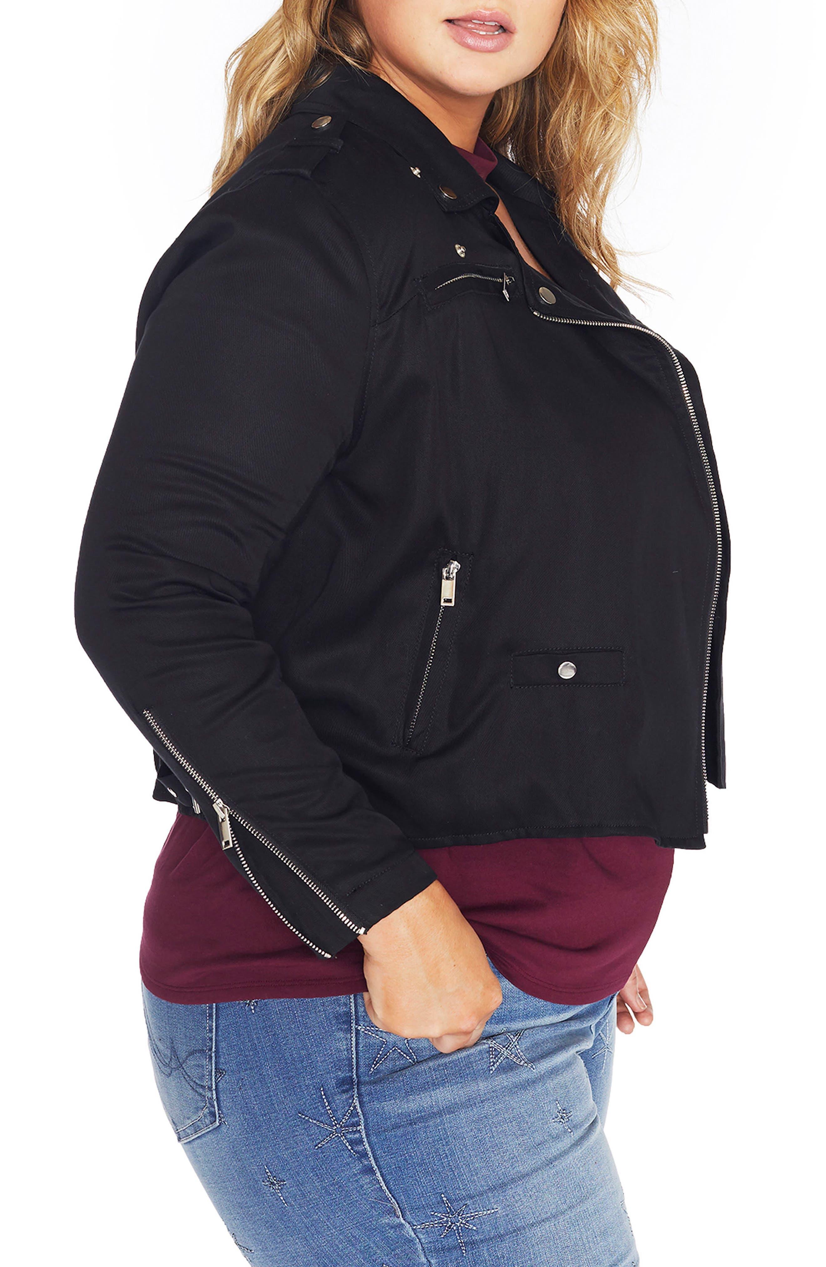 Alternate Image 4  - REBEL WILSON X ANGELS Lyocell Moto Jacket (Plus Size)