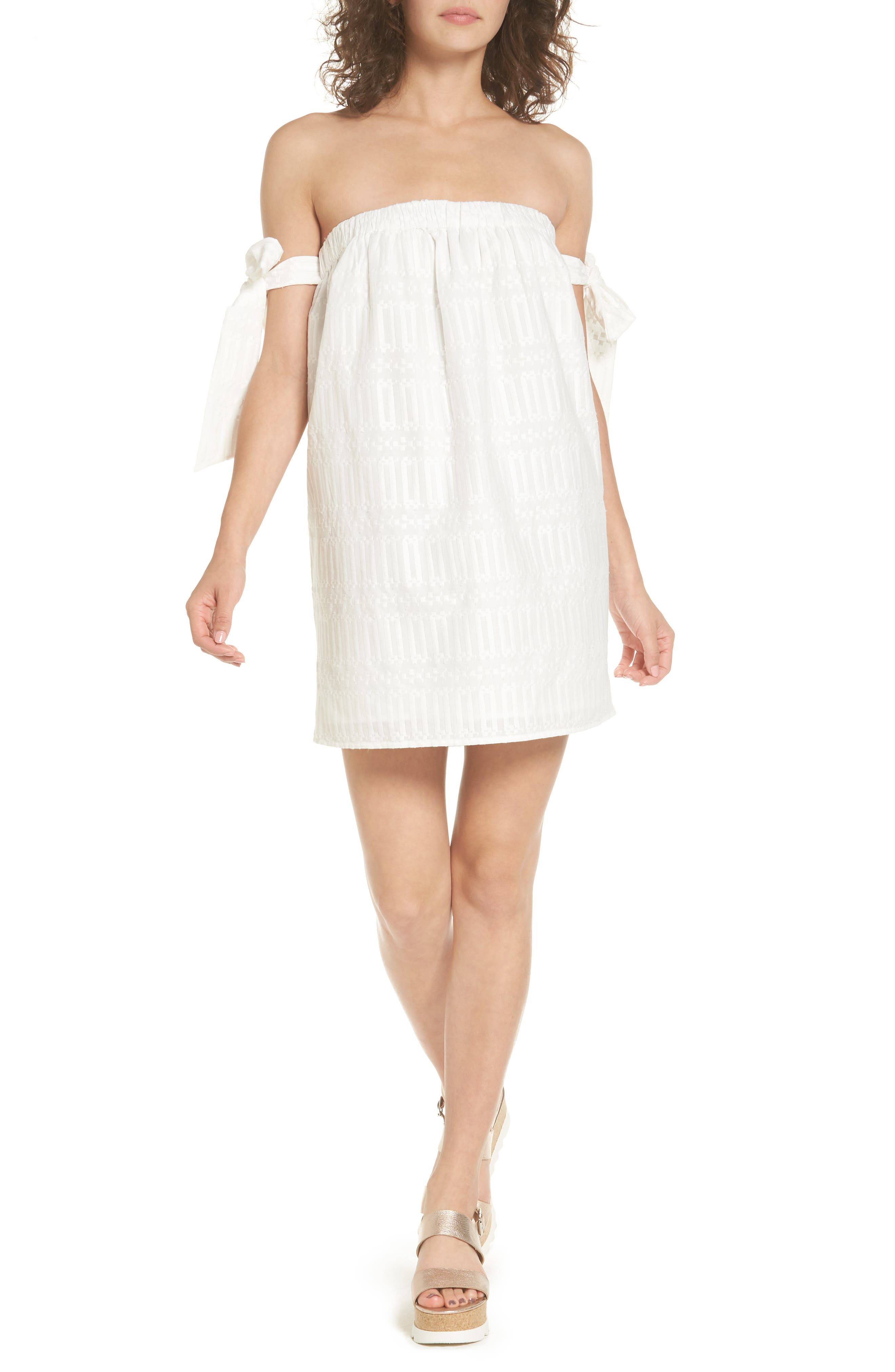 Perry Off the Shoulder Dress,                         Main,                         color, Bright White