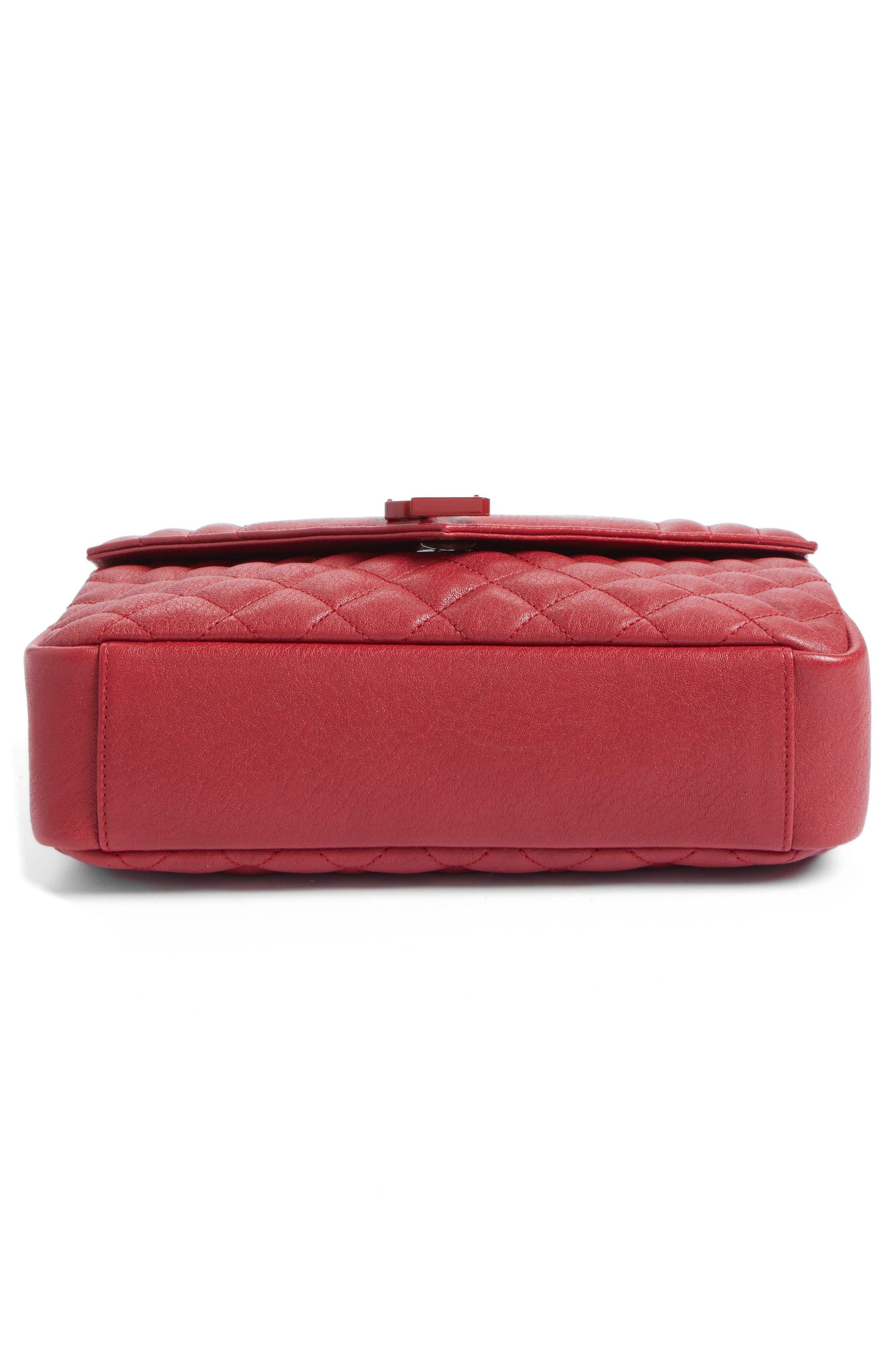 Large Monogramme Matelassé Leather Shoulder Bag,                             Alternate thumbnail 6, color,                             Rouge Lipstick