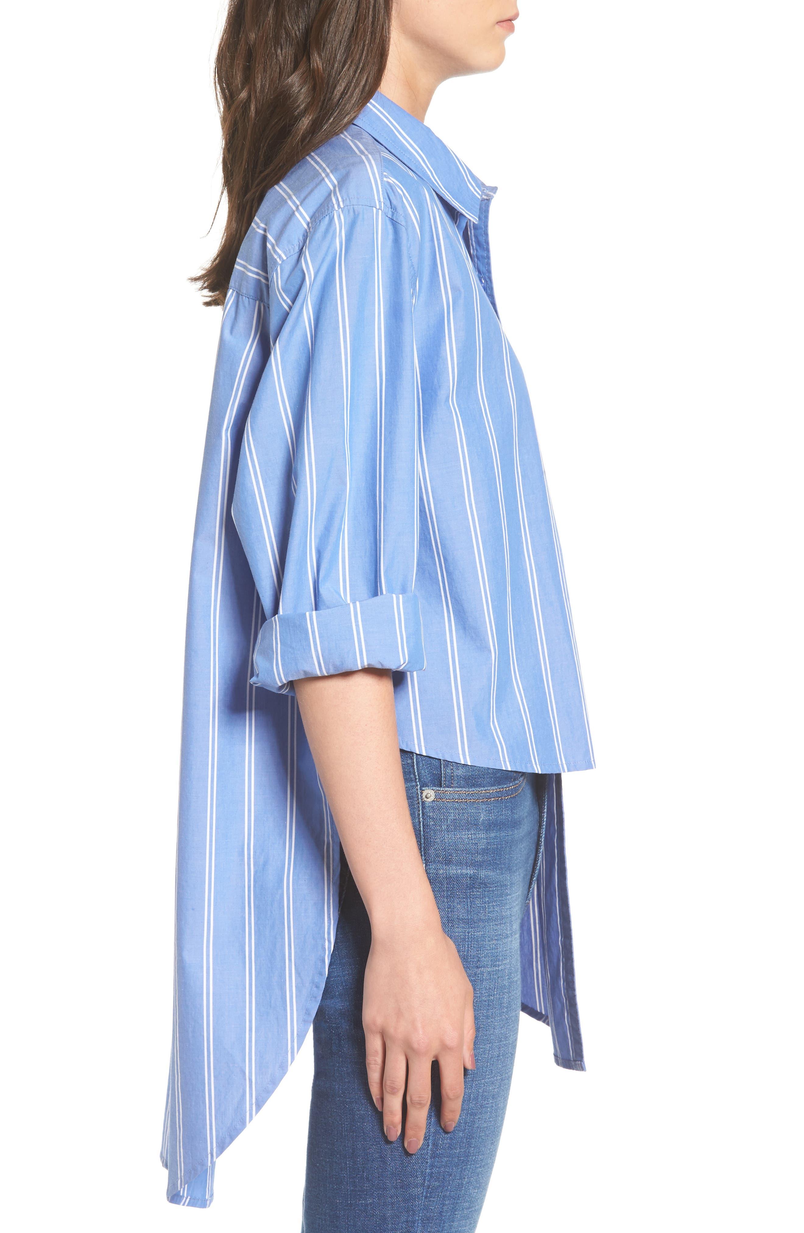 Stripe Step Hem Shirt,                             Alternate thumbnail 6, color,                             Blue Regatta May Stripe