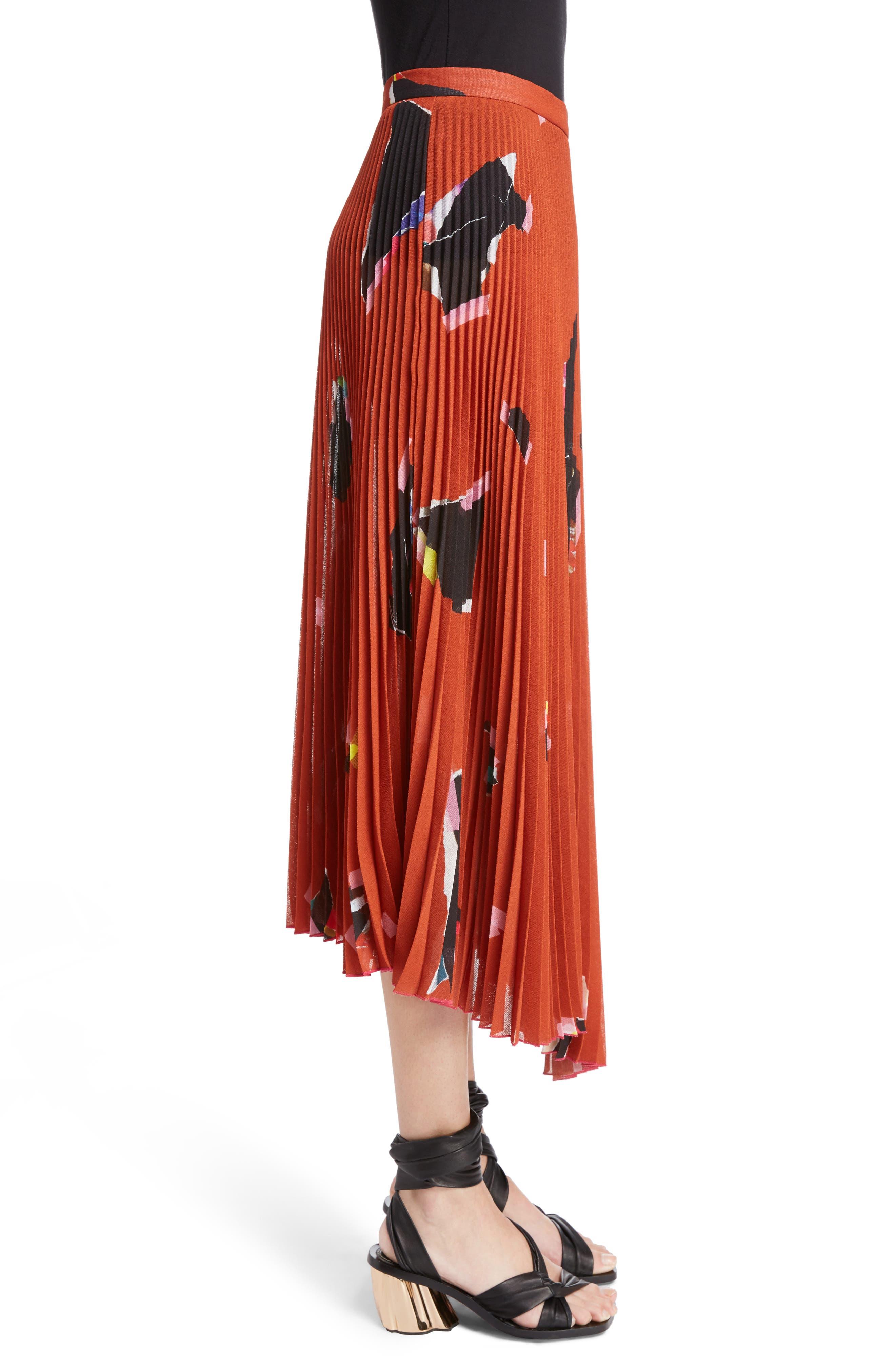Asymmetrical Pleated Skirt,                             Alternate thumbnail 3, color,                             Orange