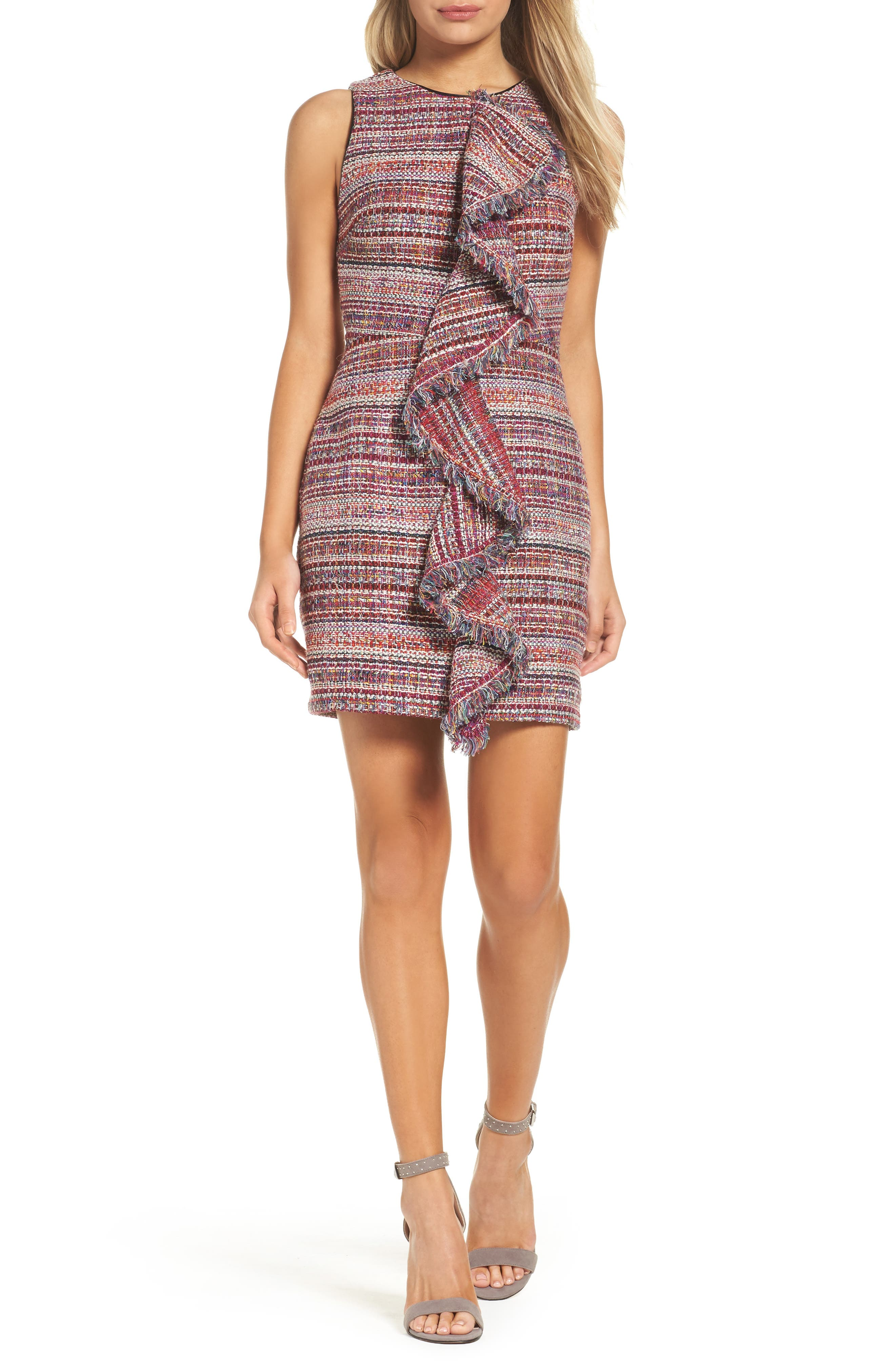 Jamie Ruffle Jacquard Sheath Dress,                             Main thumbnail 1, color,                             Magenta Multi