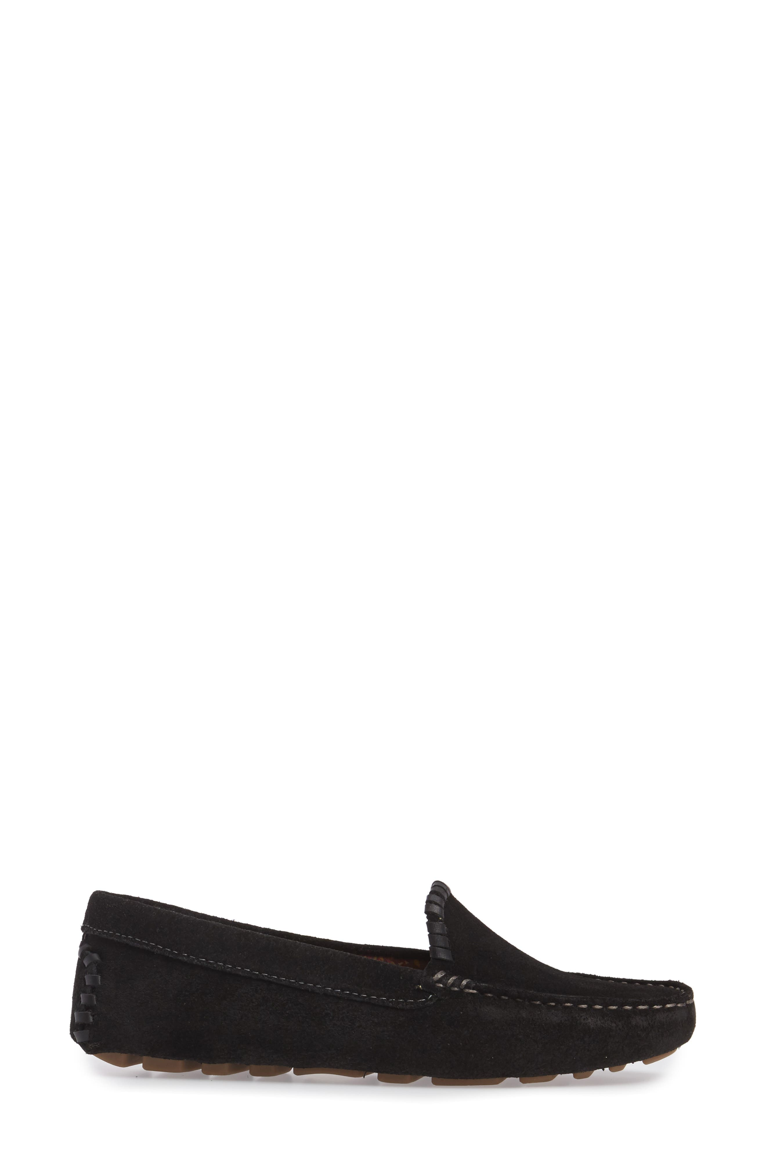 Taylor Driving Loafer,                             Alternate thumbnail 3, color,                             Black Suede
