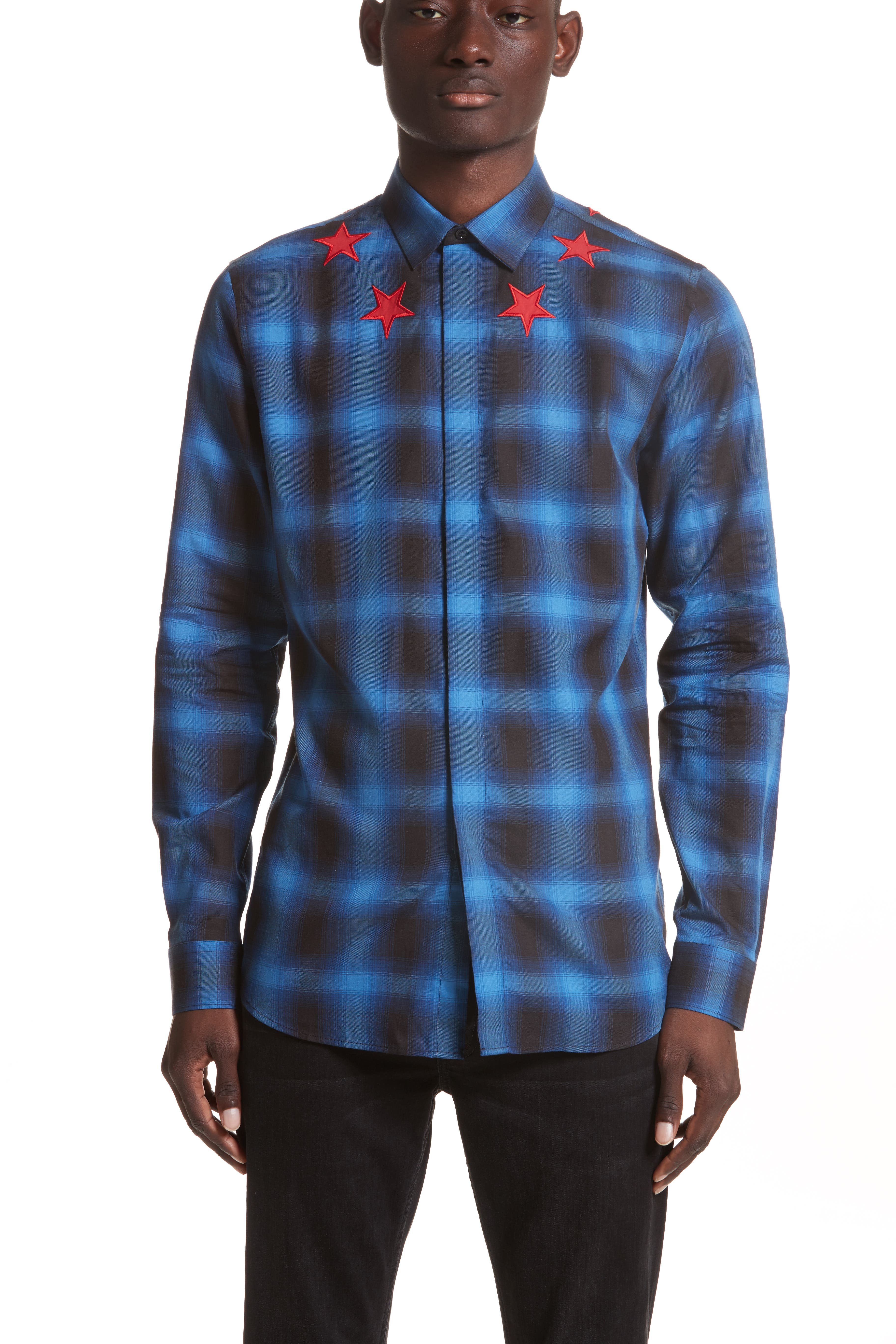 Star Embroidered Plaid Shirt,                         Main,                         color, Blue