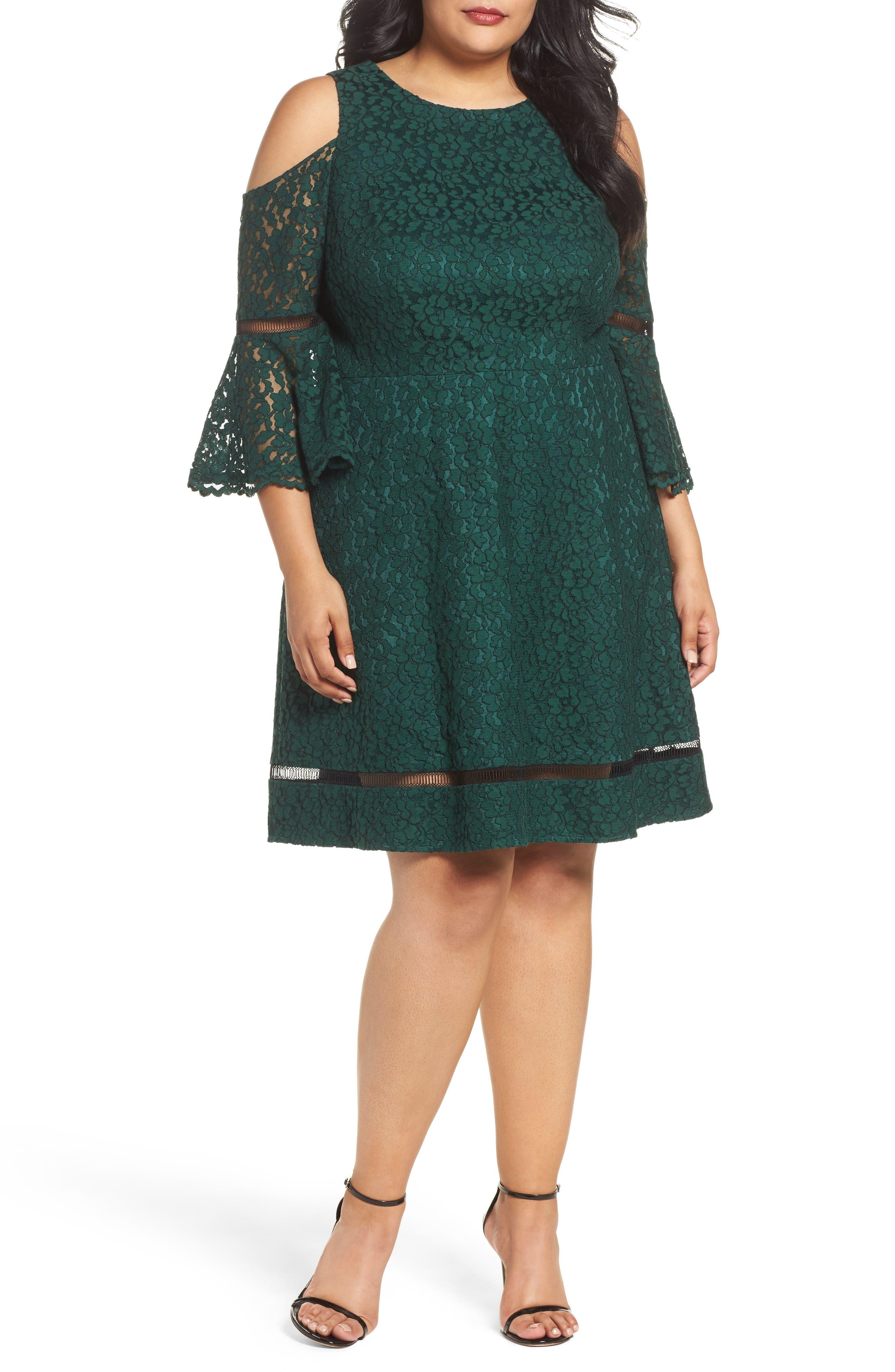 Cold Shoulder Lace Dress,                         Main,                         color, Green