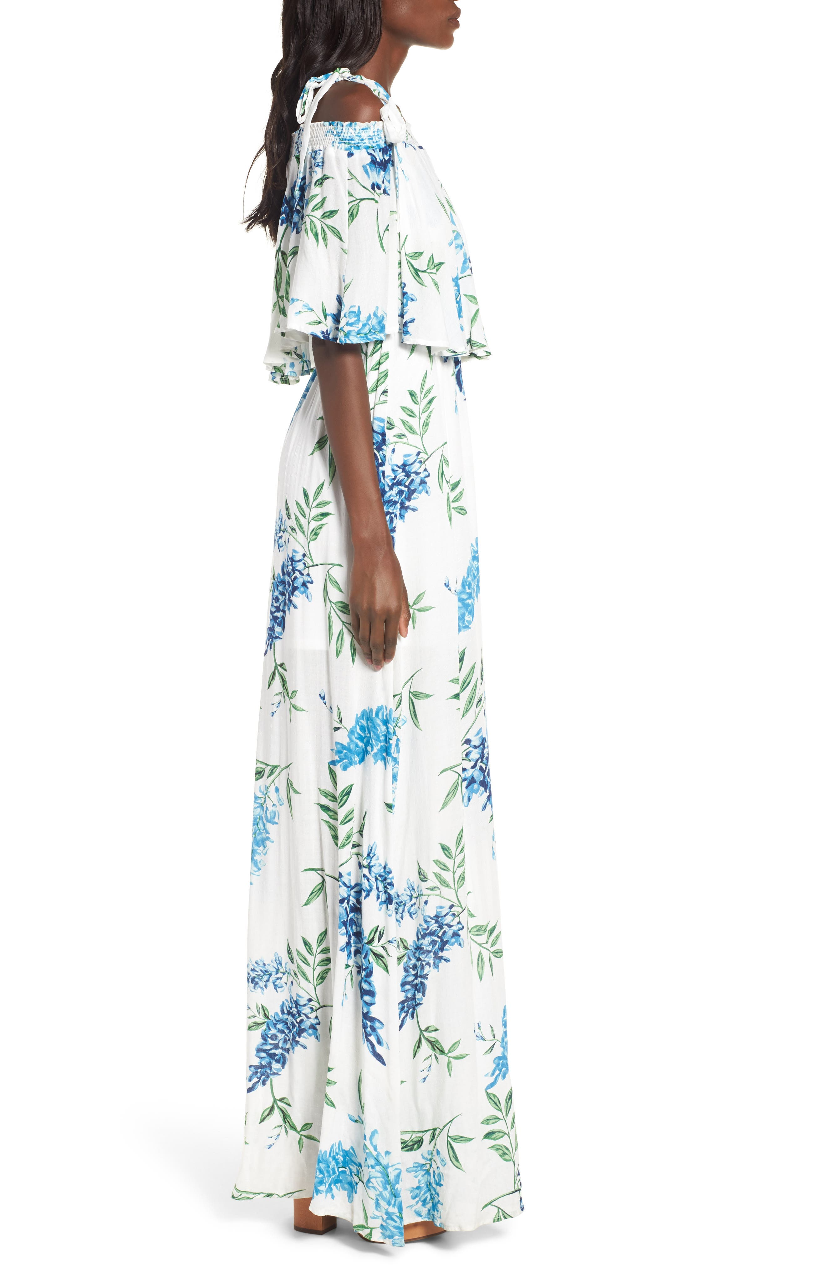 Nicola Ruffle Maxi Dress,                             Alternate thumbnail 3, color,                             Wisteria Wonder Challis