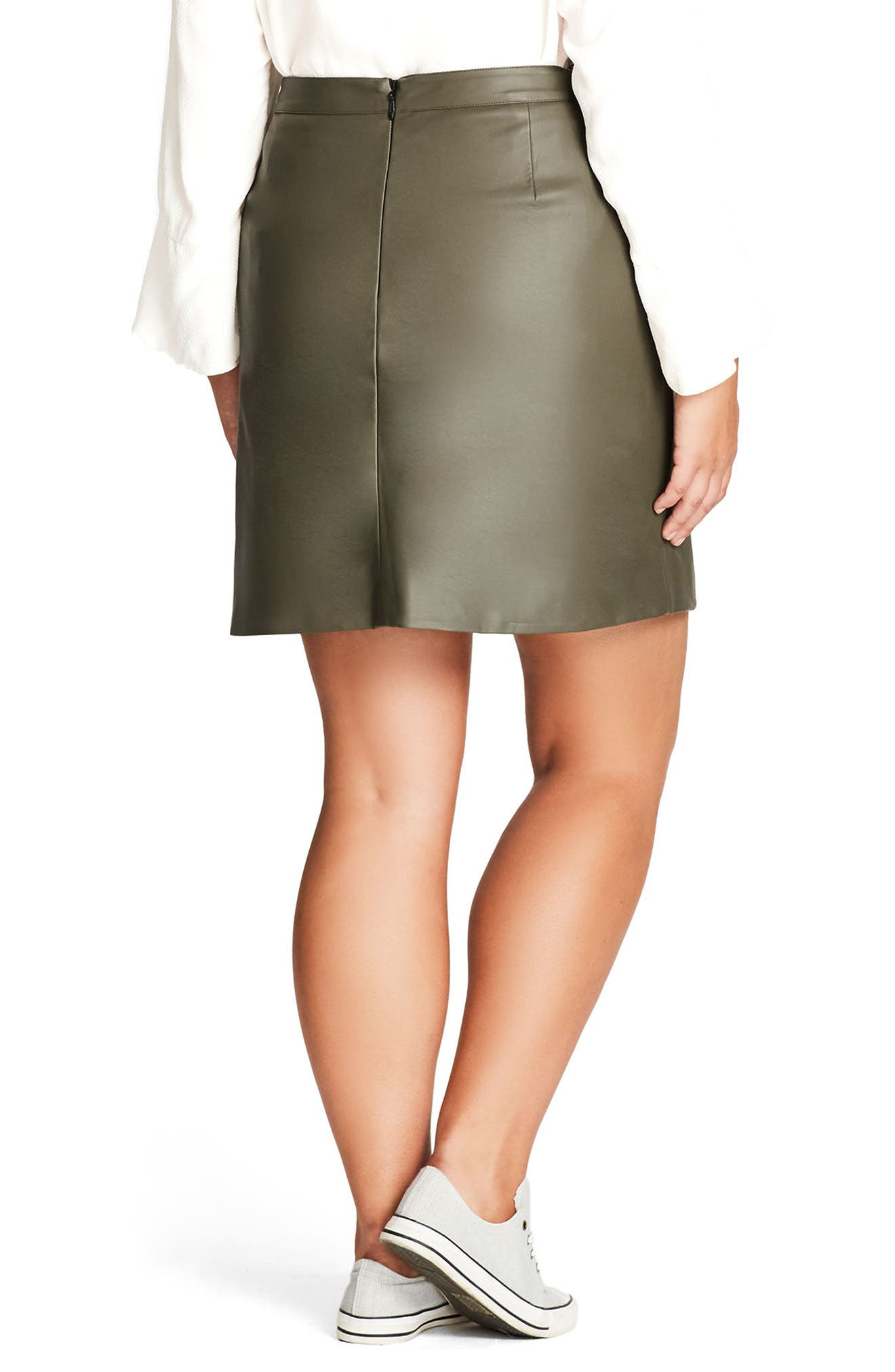 Alternate Image 2  - City Chic Faux Leather Miniskirt (Plus Size)
