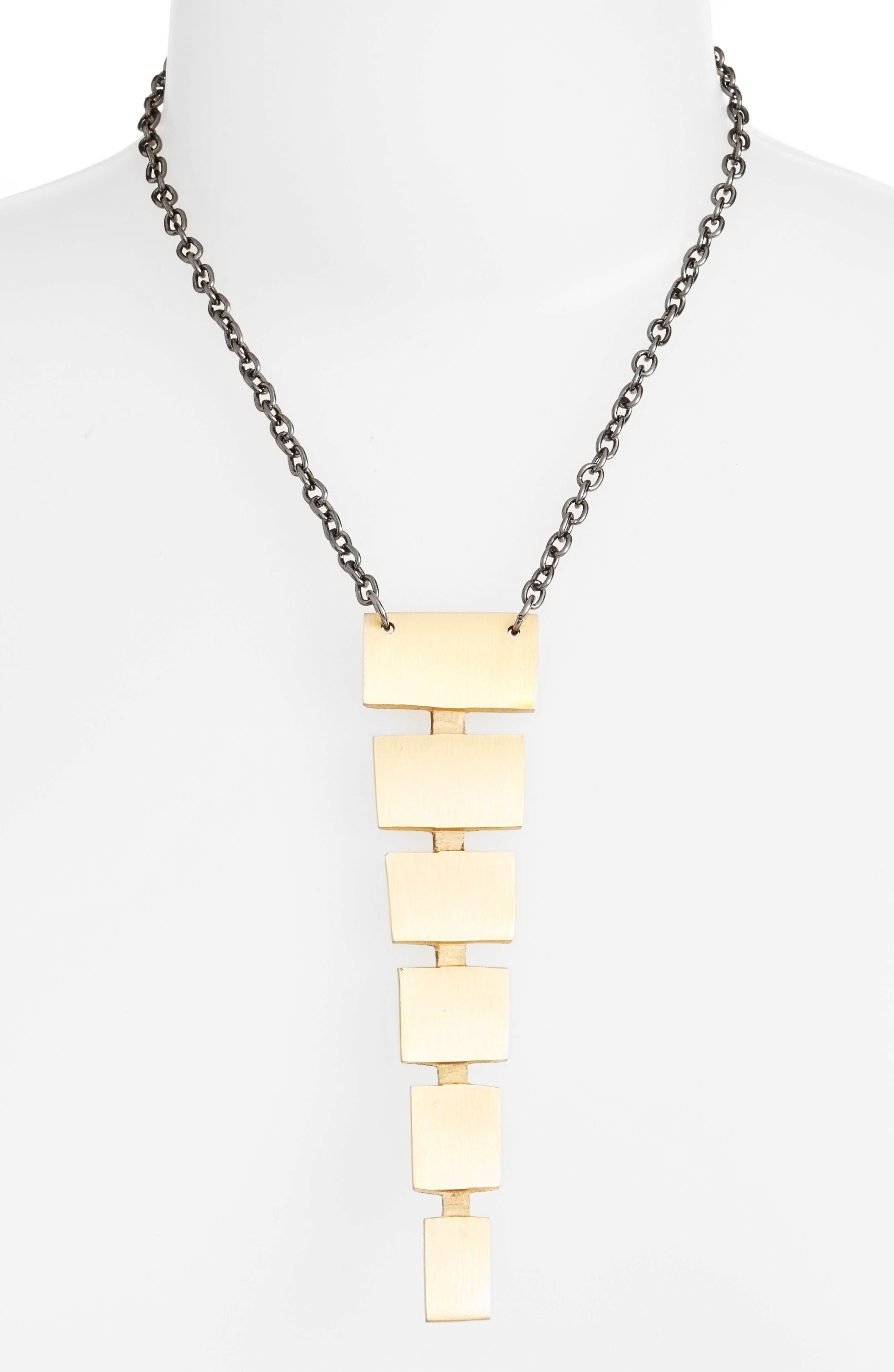 Alternate Image 2  - Ink + Alloy Block Pendant Necklace