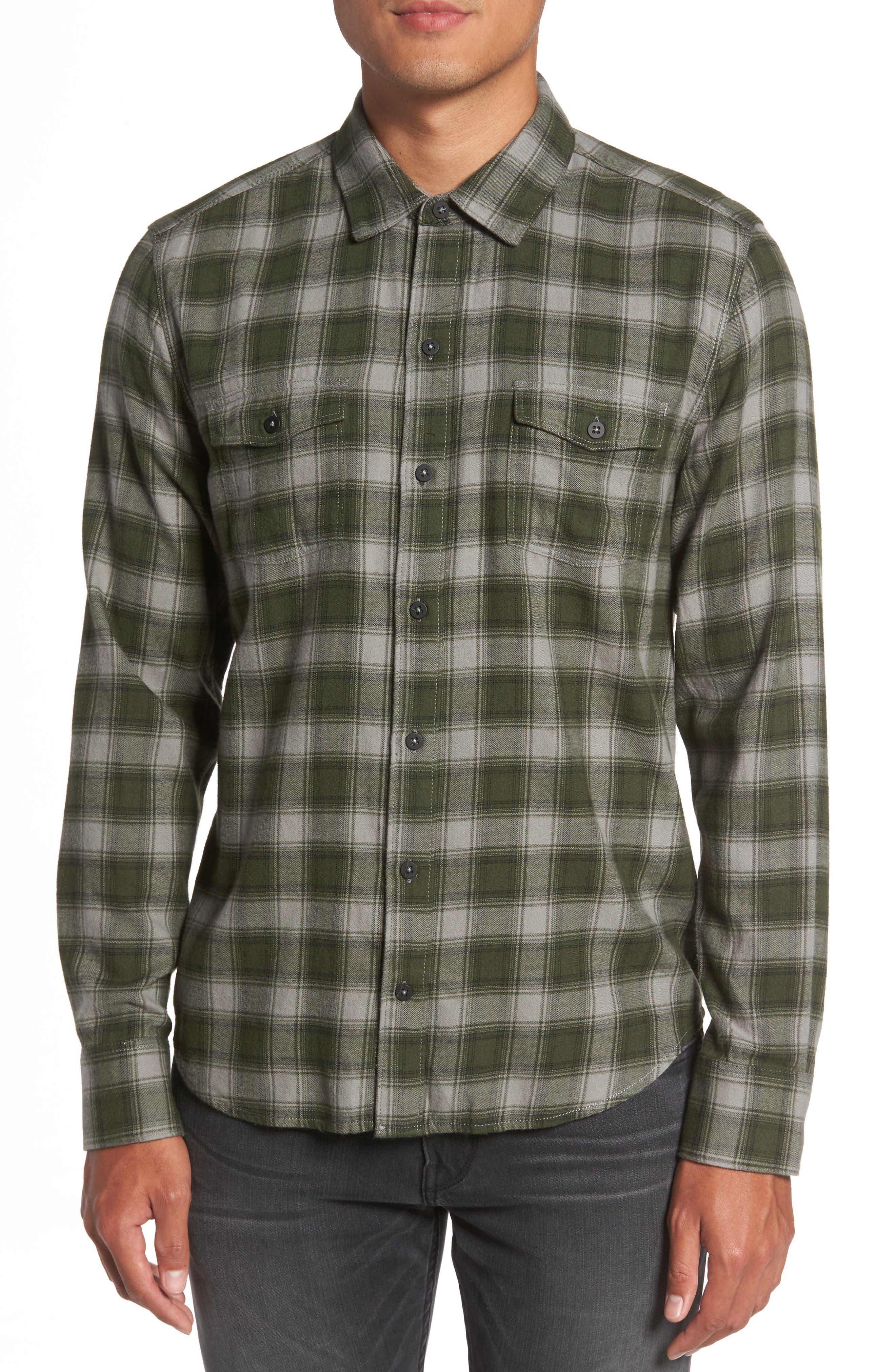 Everett Plaid Sport Shirt,                         Main,                         color, Green Dusk