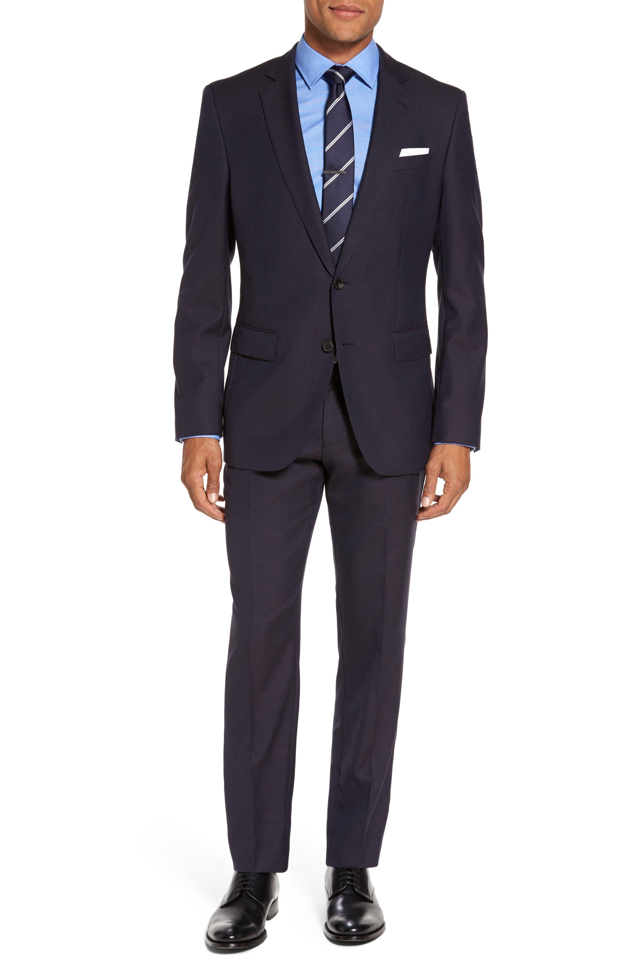 Huge/Genius Trim Fit Wool Suit,                         Main,                         color, Dark Red