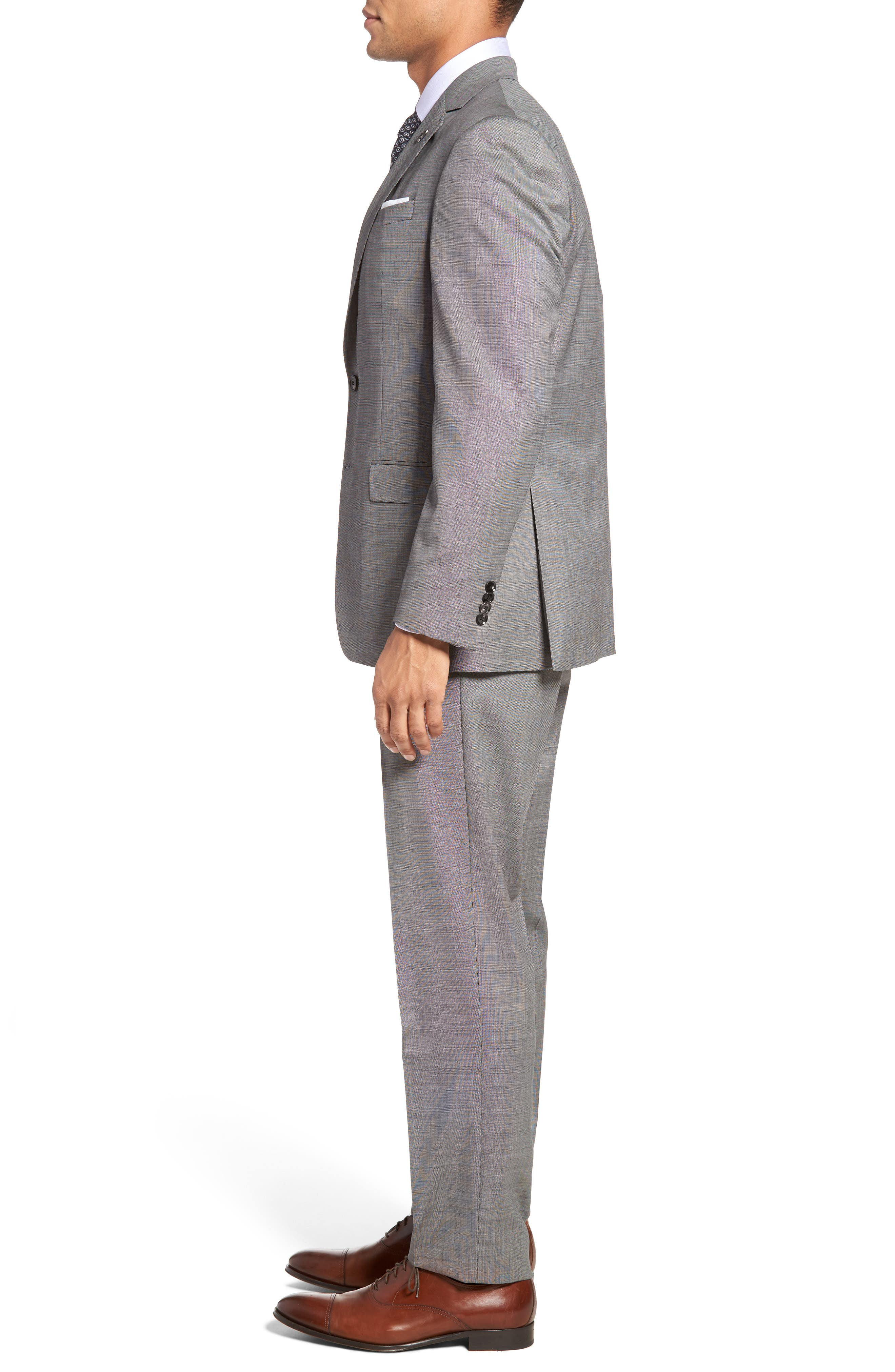 Jay Trim Fit Solid Wool Suit,                             Alternate thumbnail 3, color,                             Light Grey
