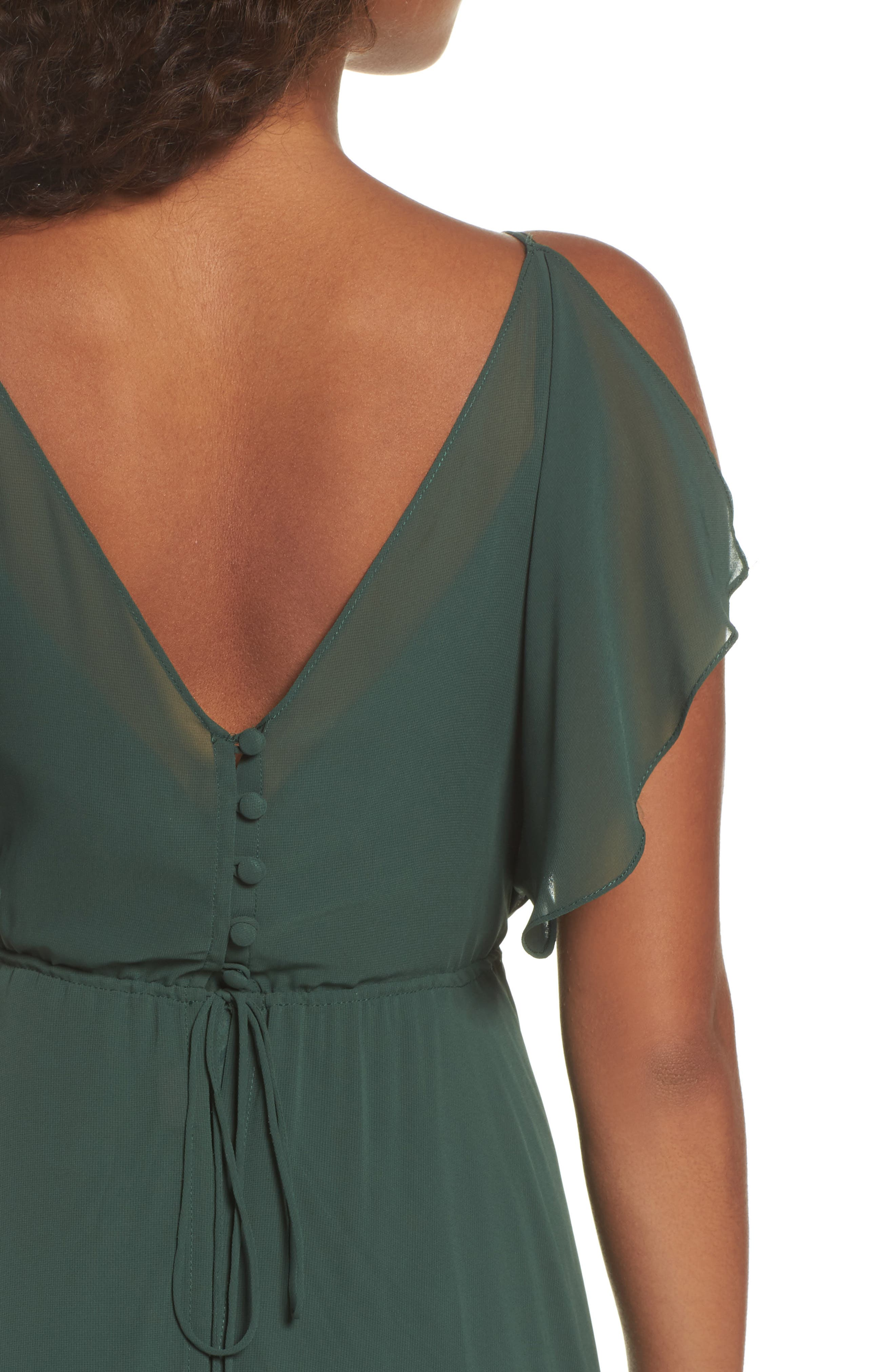 Cassie Flutter Sleeve Chiffon A-Line Gown,                             Alternate thumbnail 4, color,                             Forrest