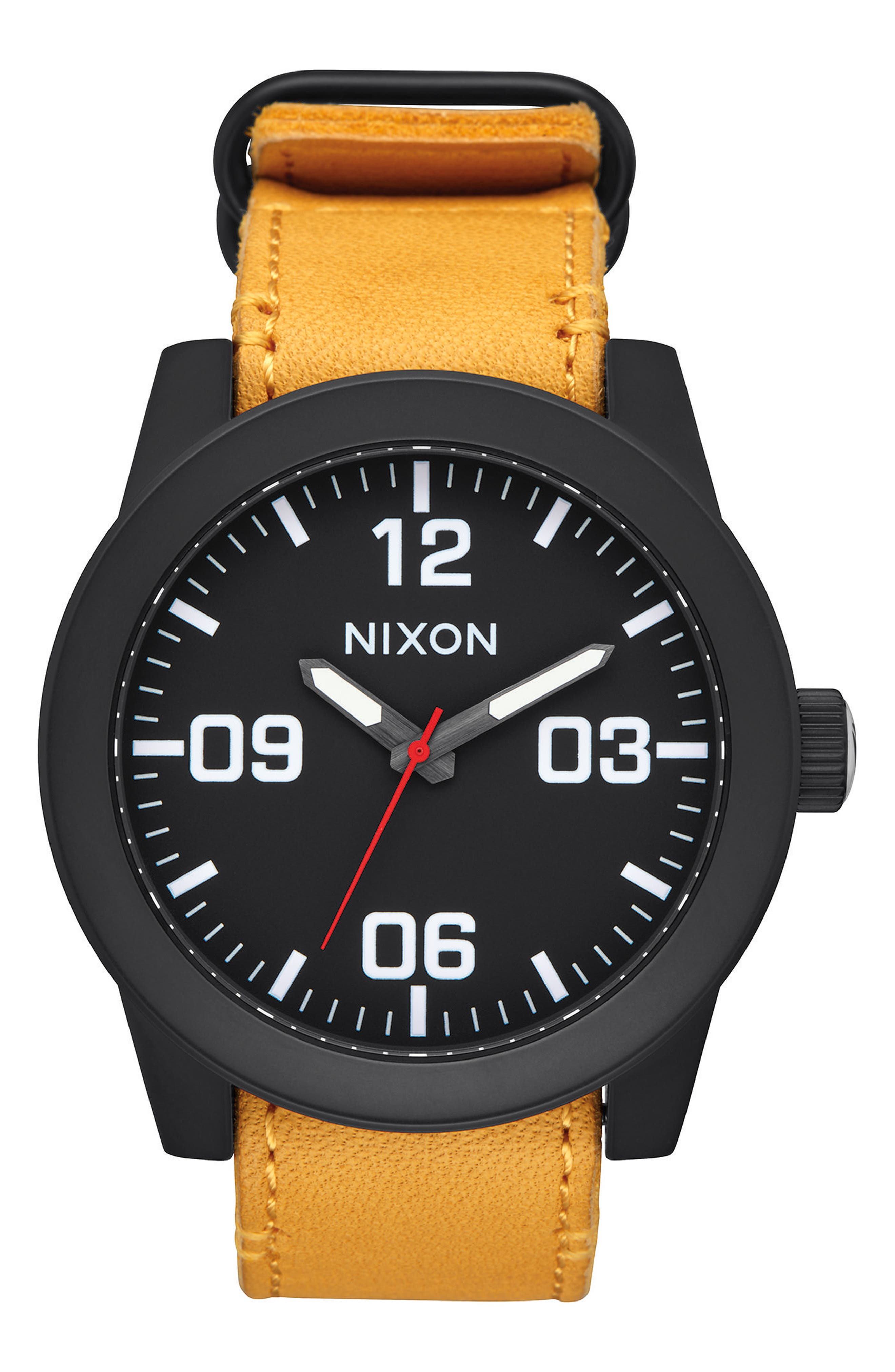'The Corporal' Leather Strap Watch, 48mm,                         Main,                         color, Goldenrod/ Black