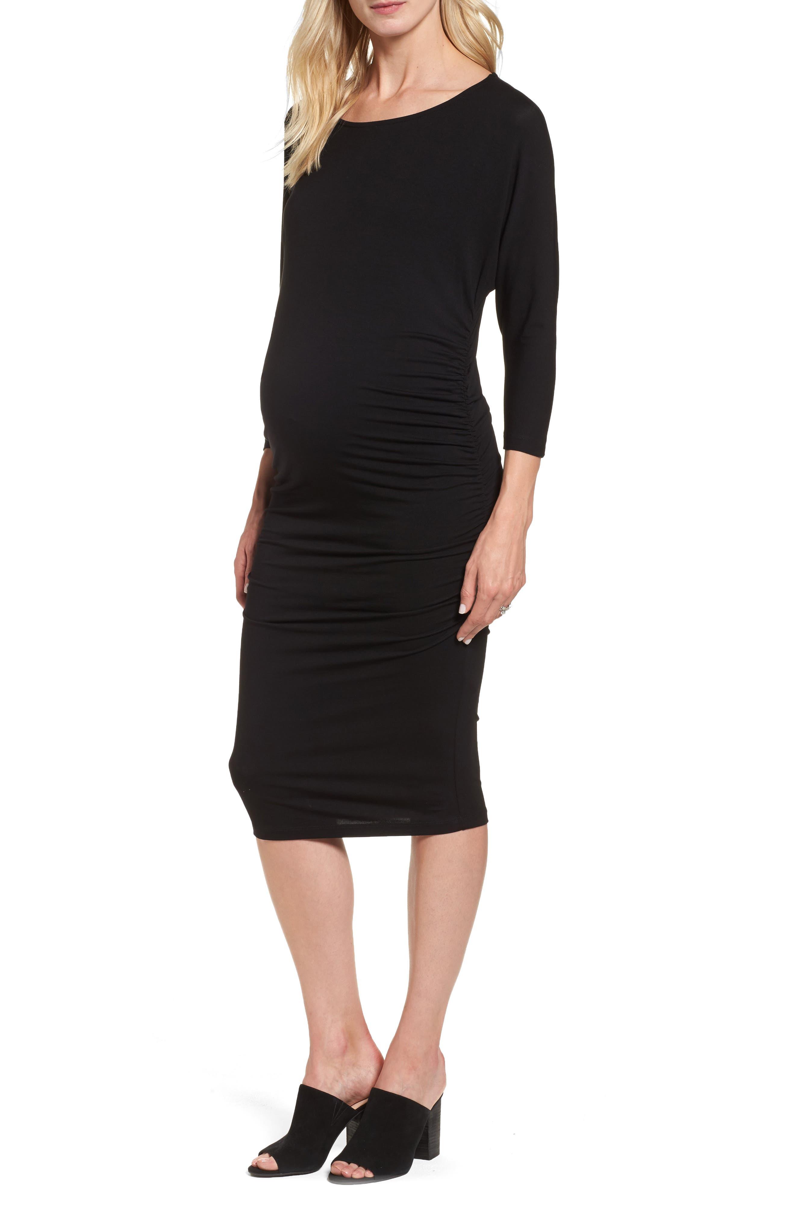 Jessa Maternity Dress,                             Main thumbnail 1, color,                             Caviar Black