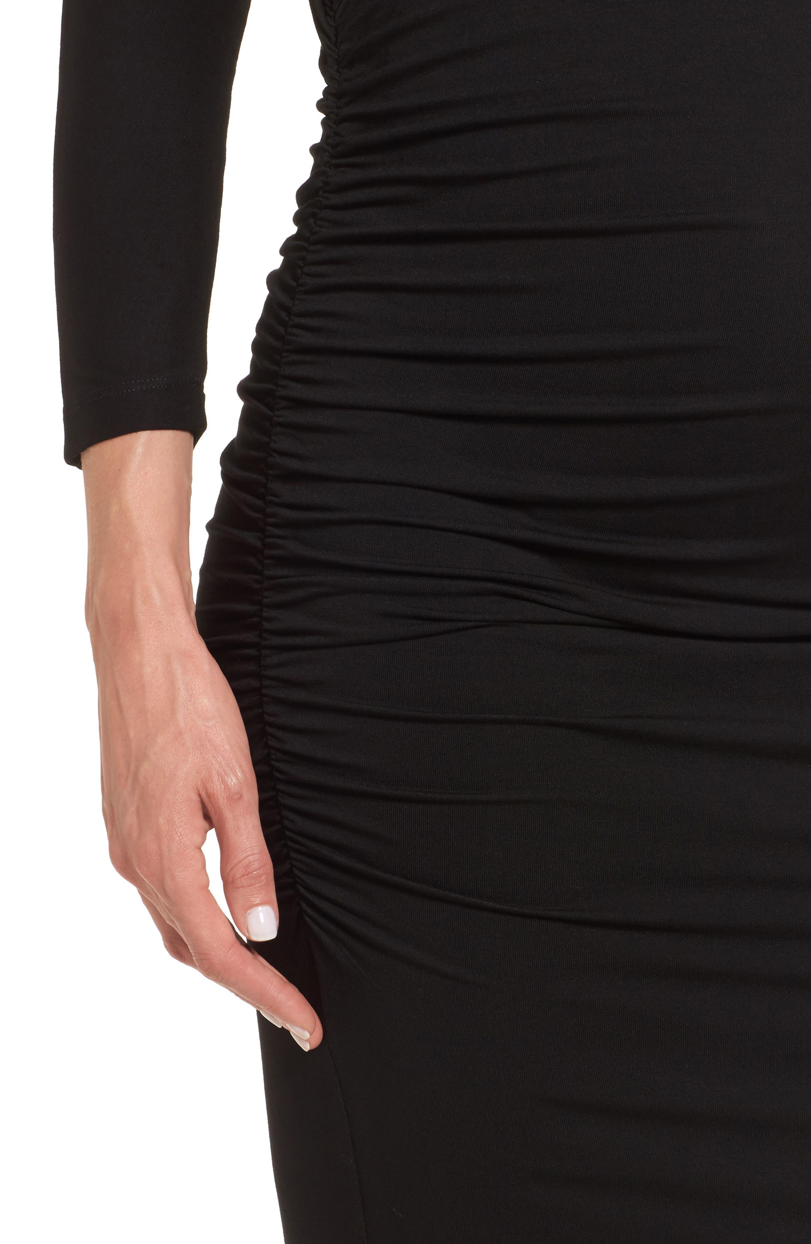 Jessa Maternity Dress,                             Alternate thumbnail 4, color,                             Caviar Black
