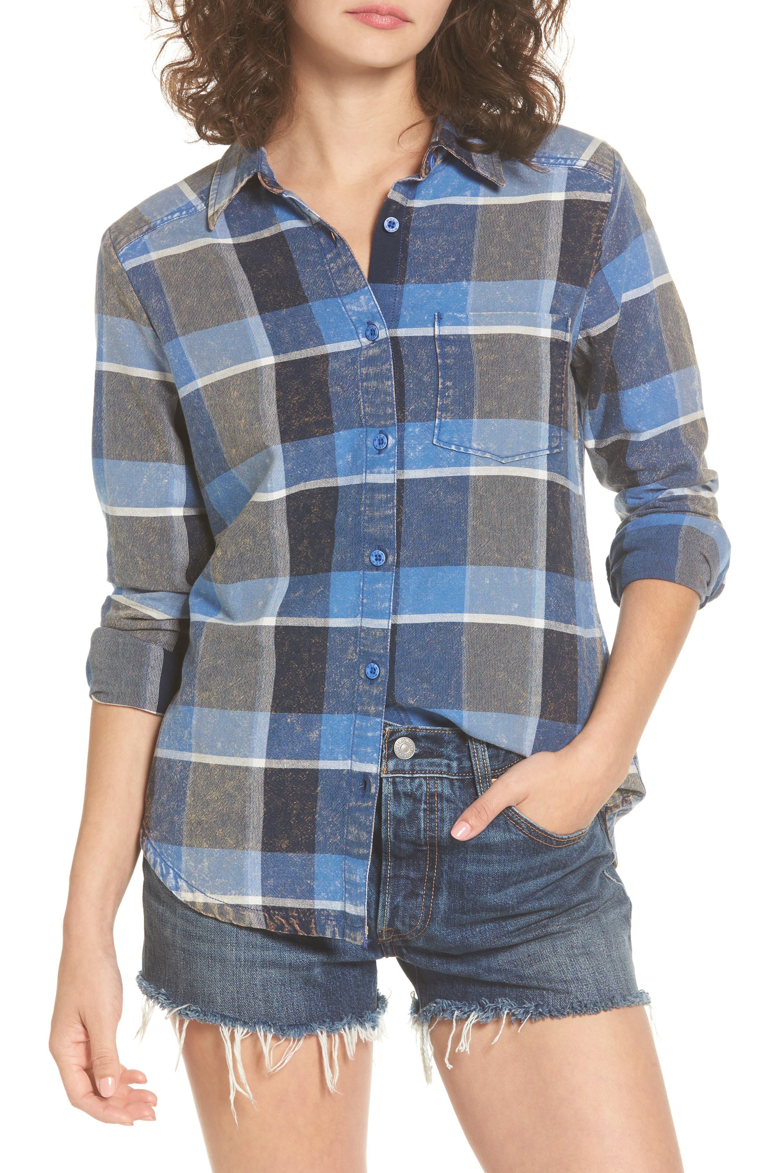 Pops Cotton Plaid Shirt,                         Main,                         color, Federal Blue