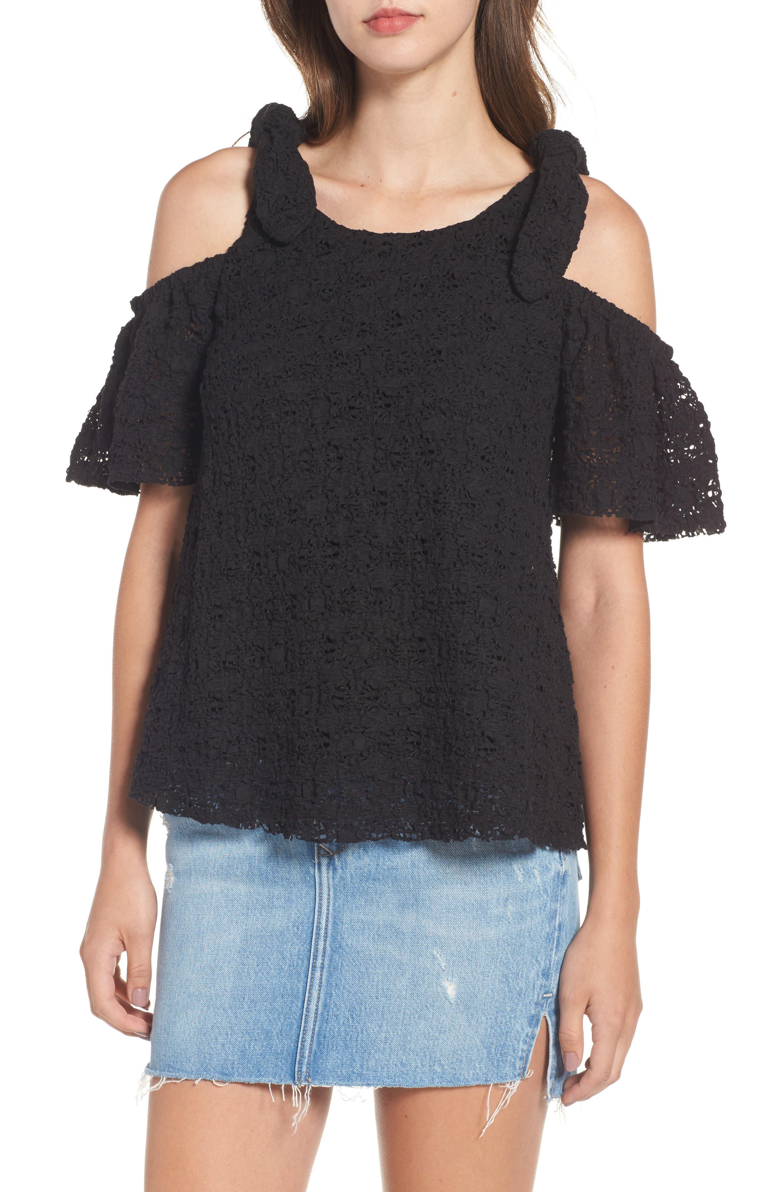Textured Knit Tie Cold Shoulder Top,                         Main,                         color, Black