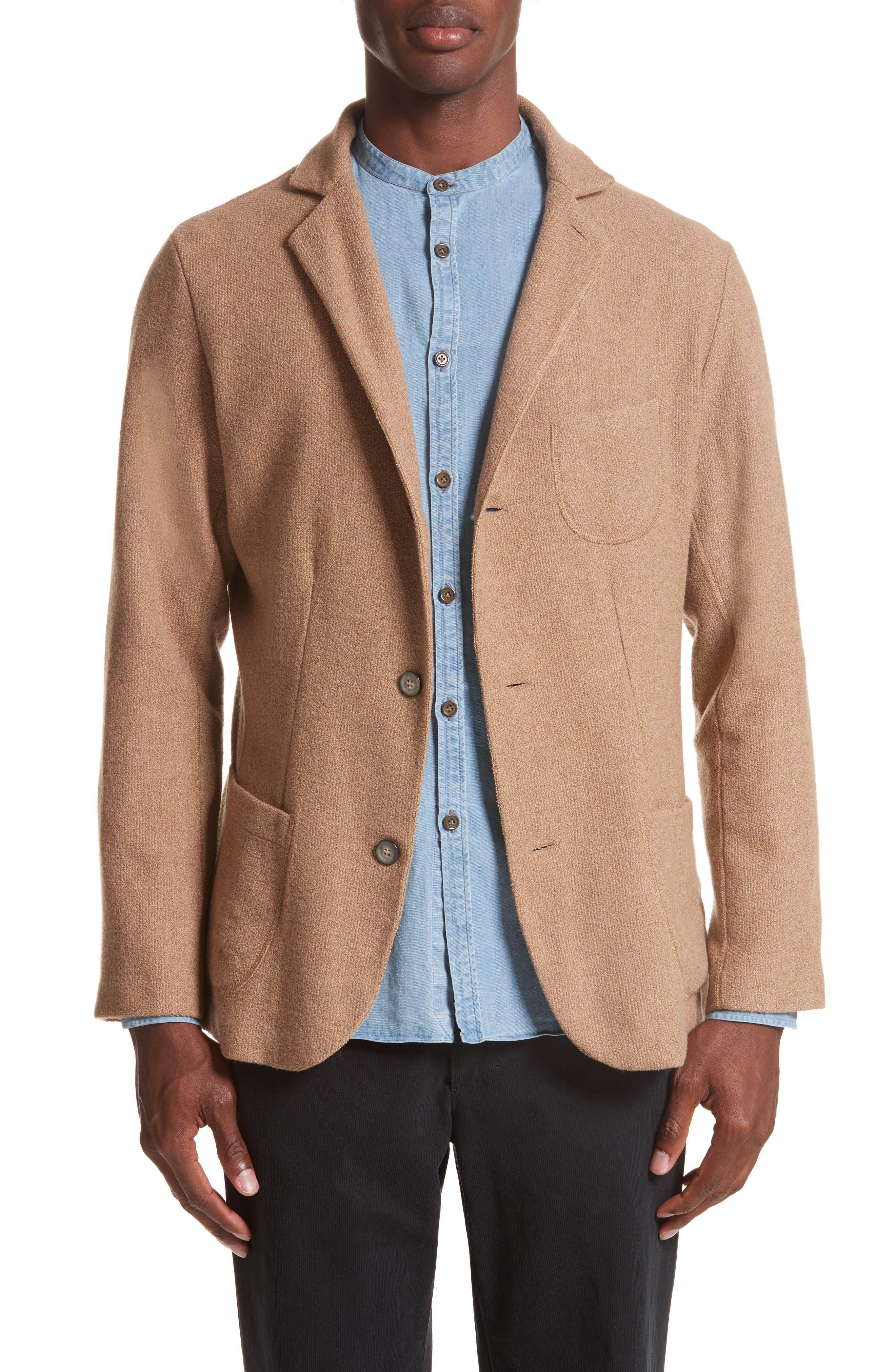 Nicola Camel Knit Wool Blazer,                         Main,                         color, Travertine