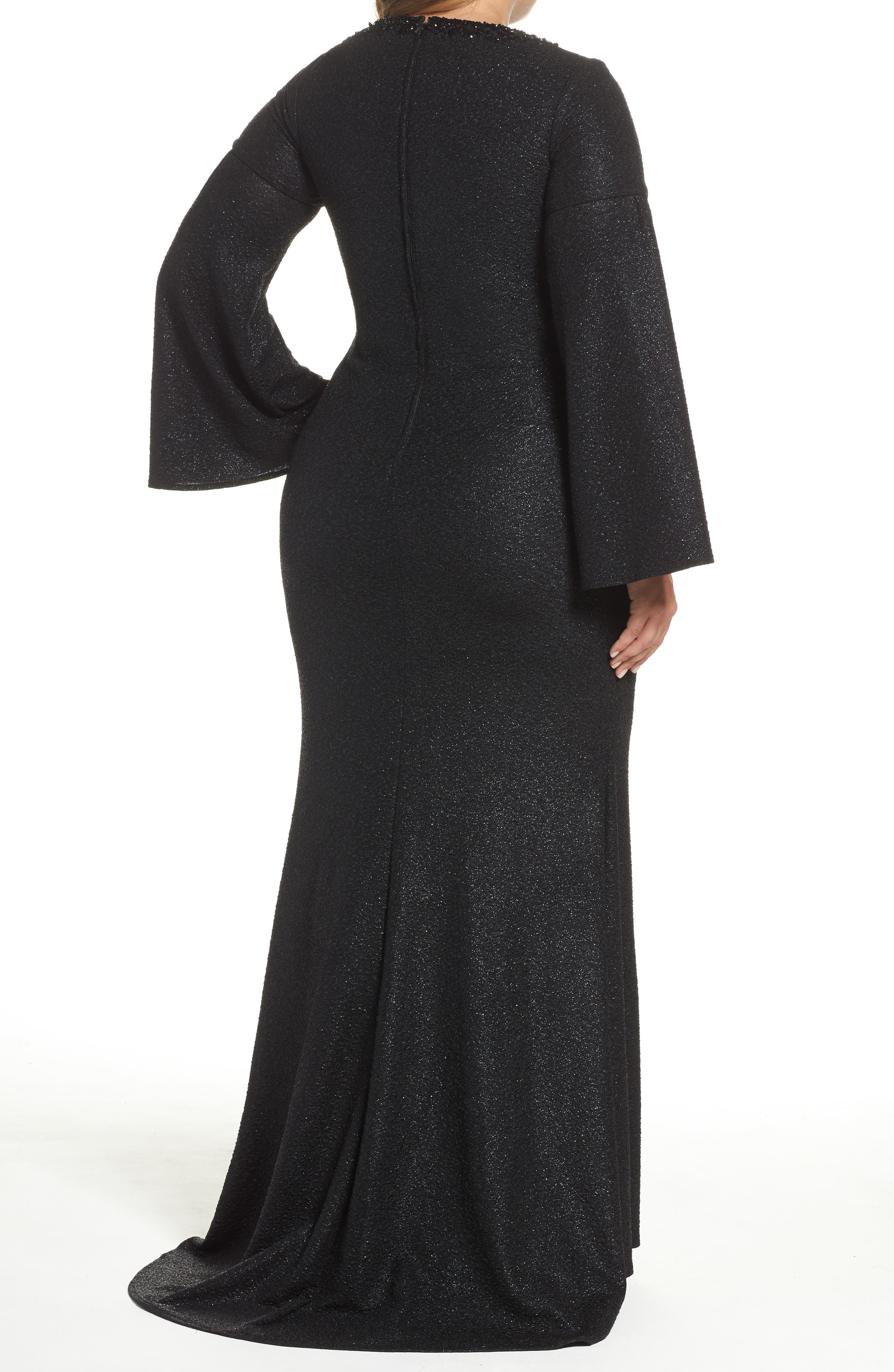 Bell Sleeve Embellished Gown,                             Alternate thumbnail 2, color,                             Black