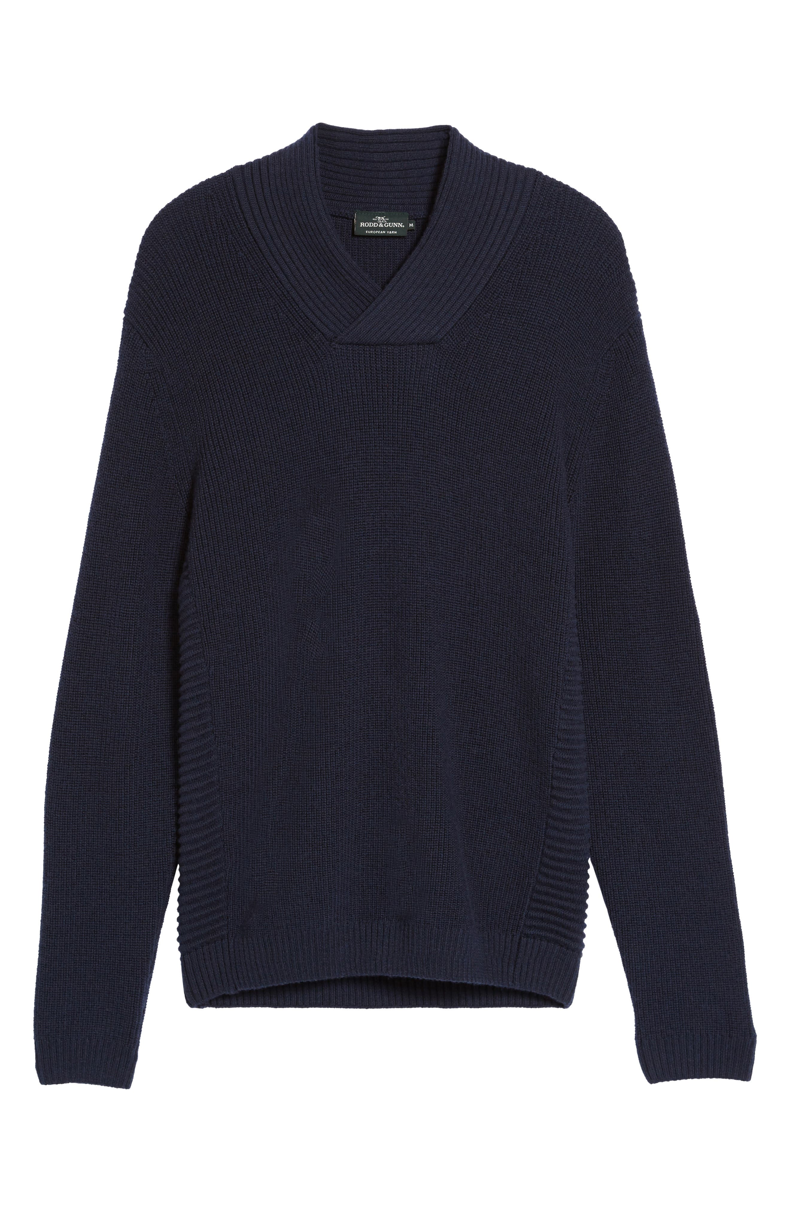 Charlesworth Suede Patch Merino Wool Sweater,                             Alternate thumbnail 7, color,                             Marine