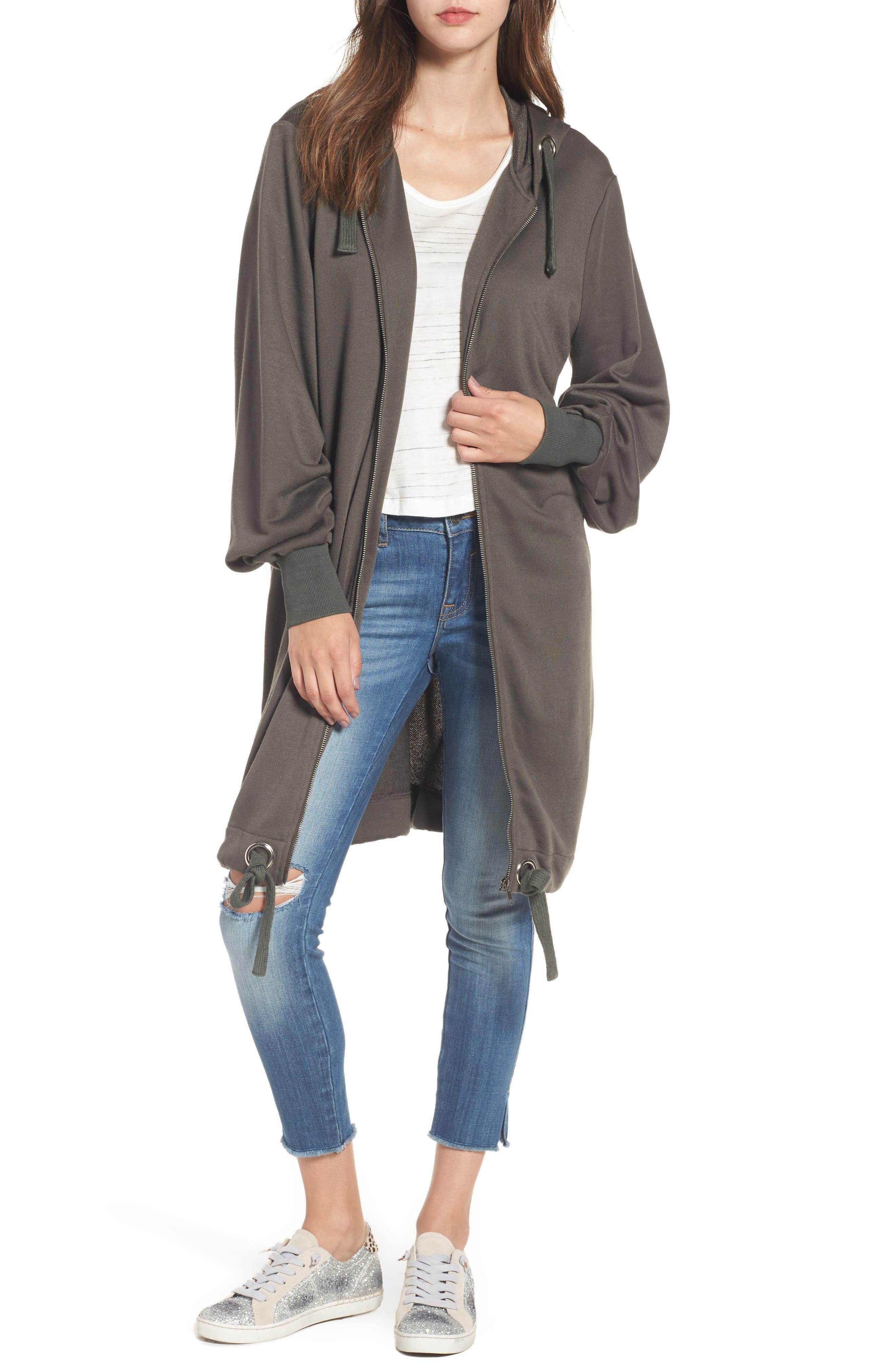Oversize Zip-Up Hoodie,                         Main,                         color, Dove Grey