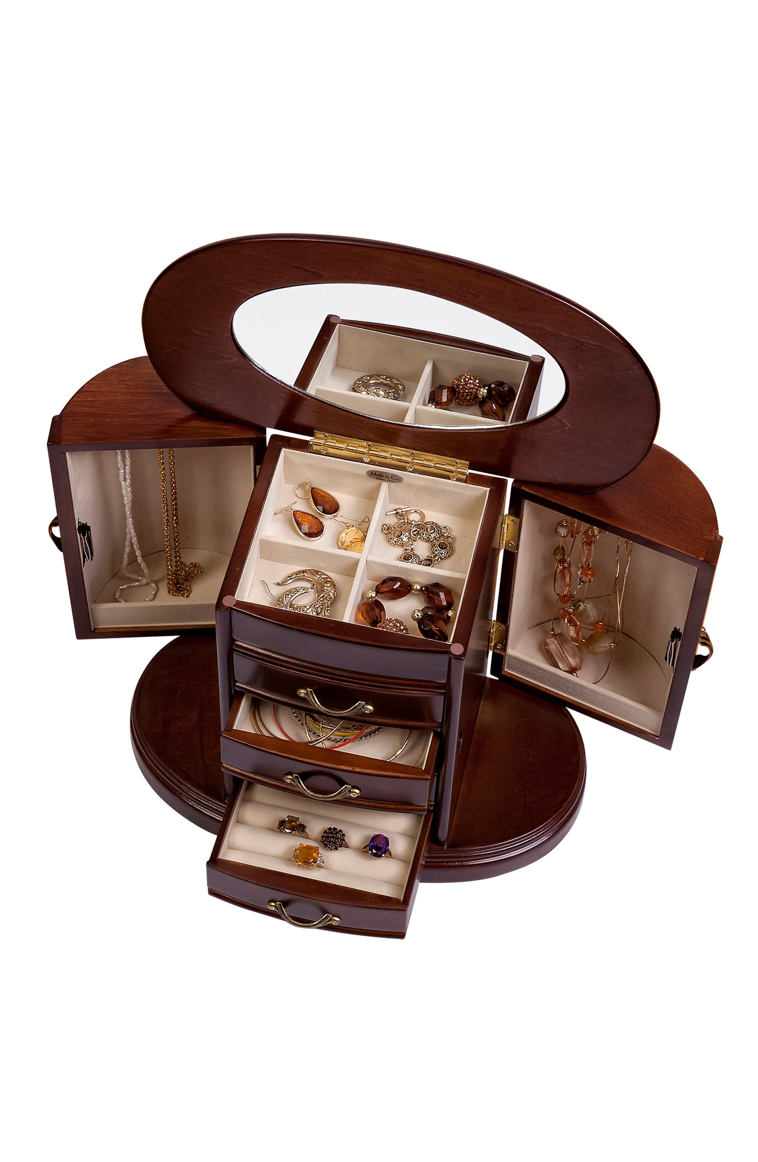Heloise Wooden Jewelry Box,                             Alternate thumbnail 3, color,                             Brown